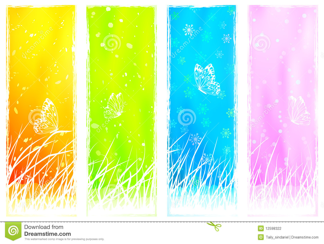 Floral Grassy Vertical Banners Stock Photography - Image: 12598322