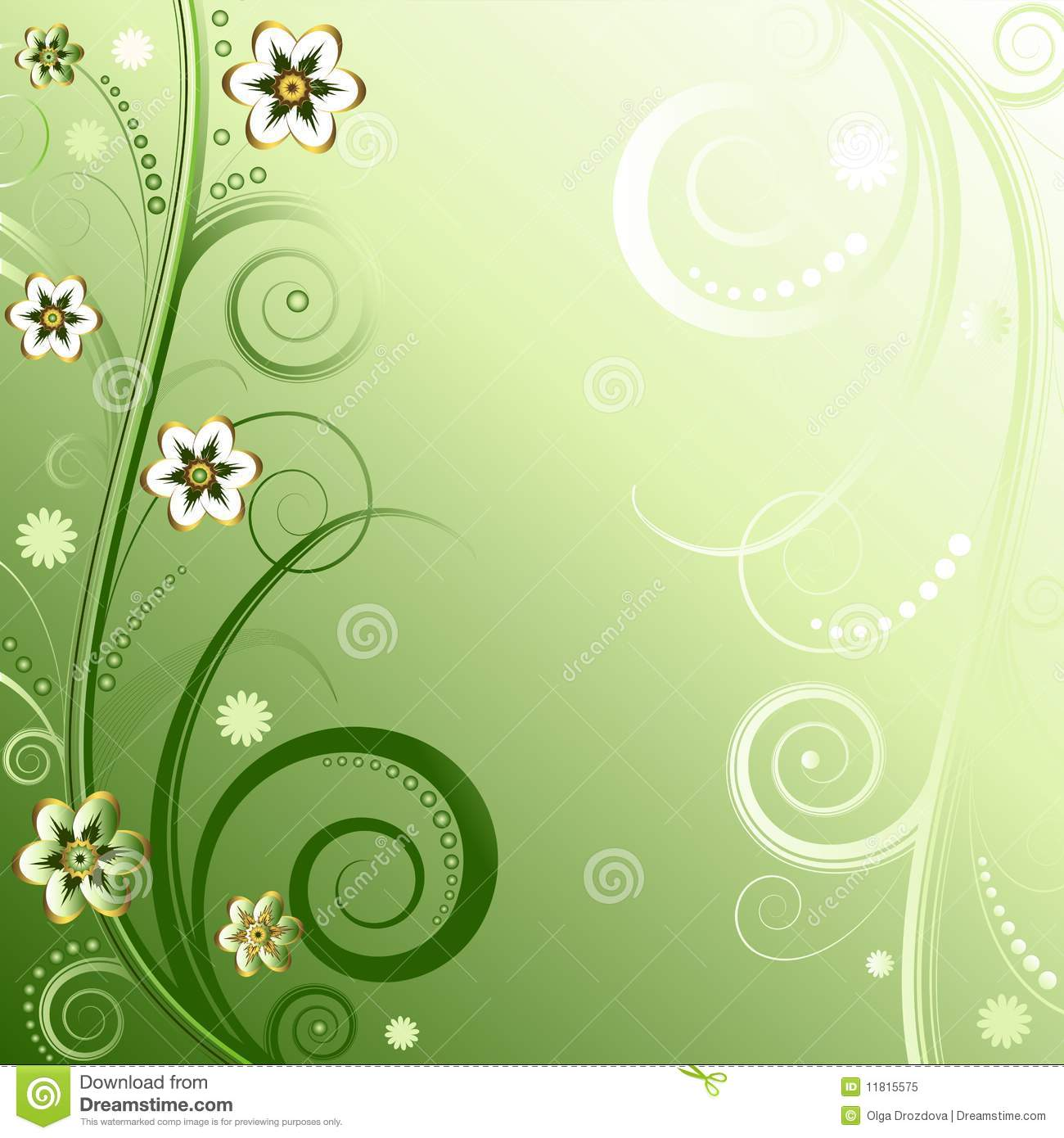 Floral Green Background (vector) Royalty Free Stock Photo