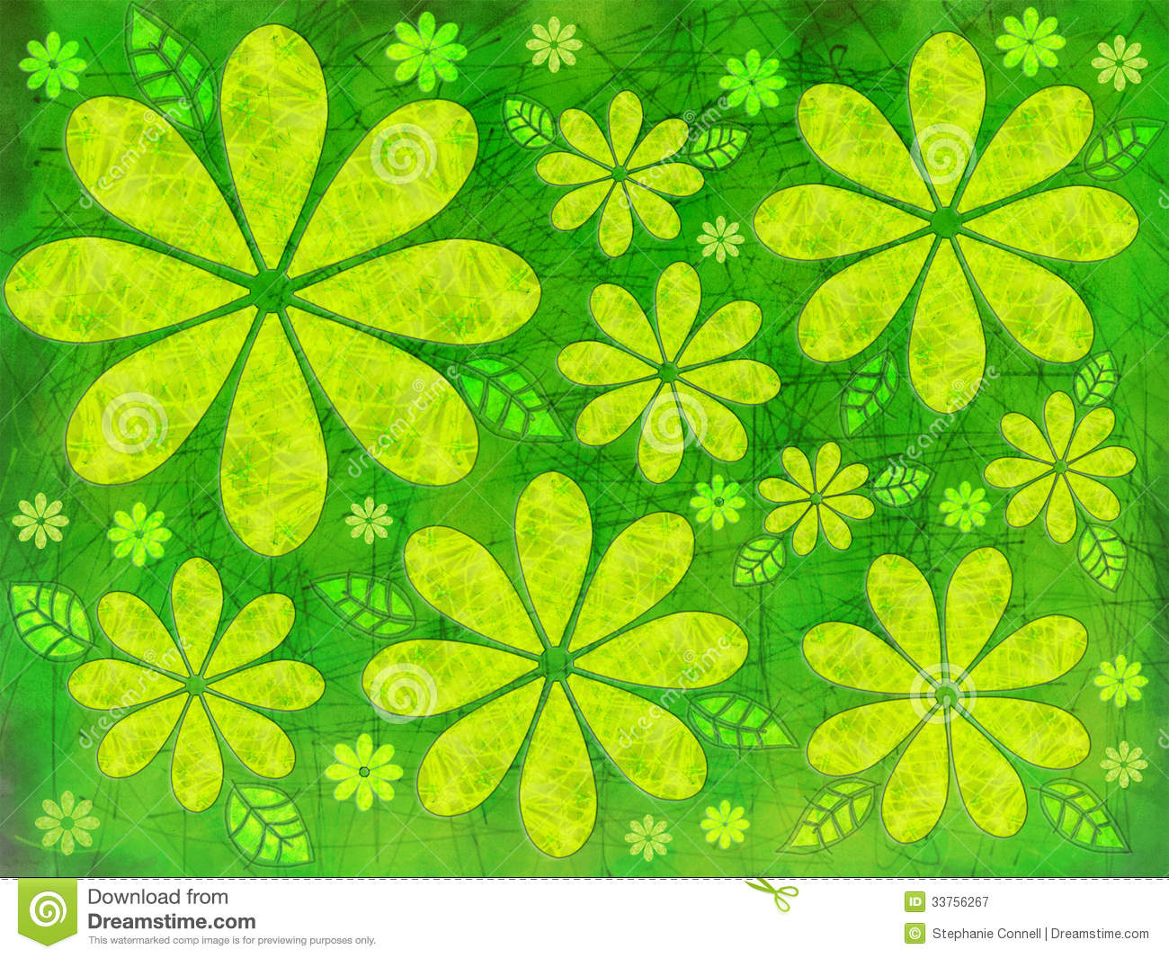 Floral Green Illustration Stock Illustration. Illustration