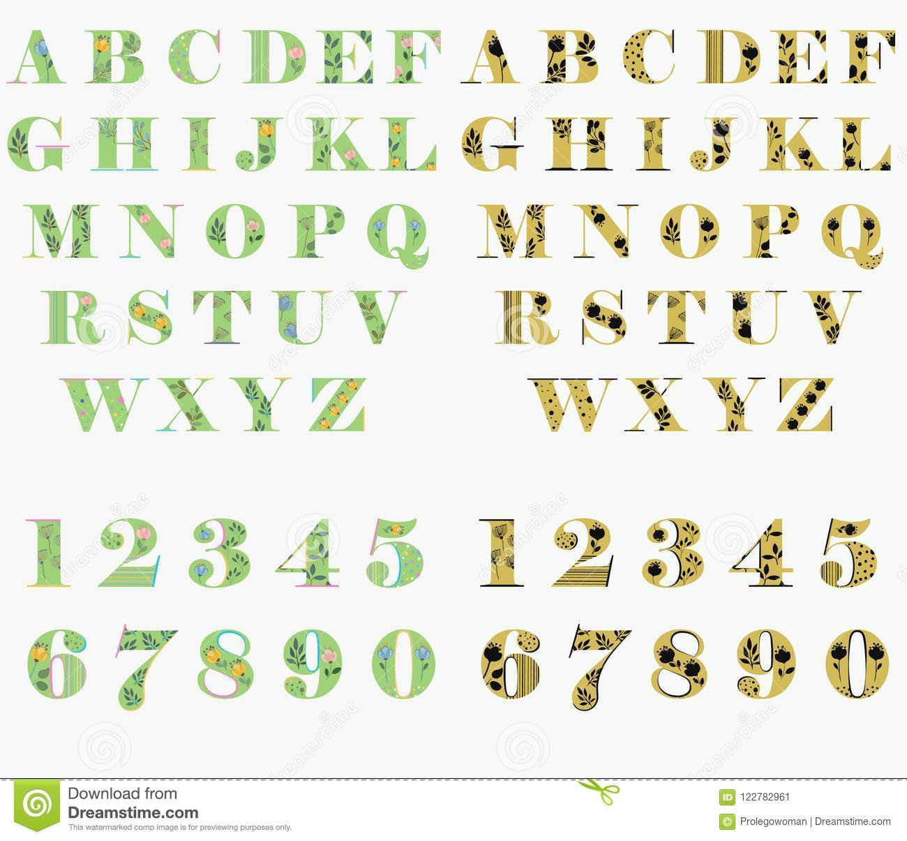 Floral Green And Yellow Letters And Numbers Stock Vector