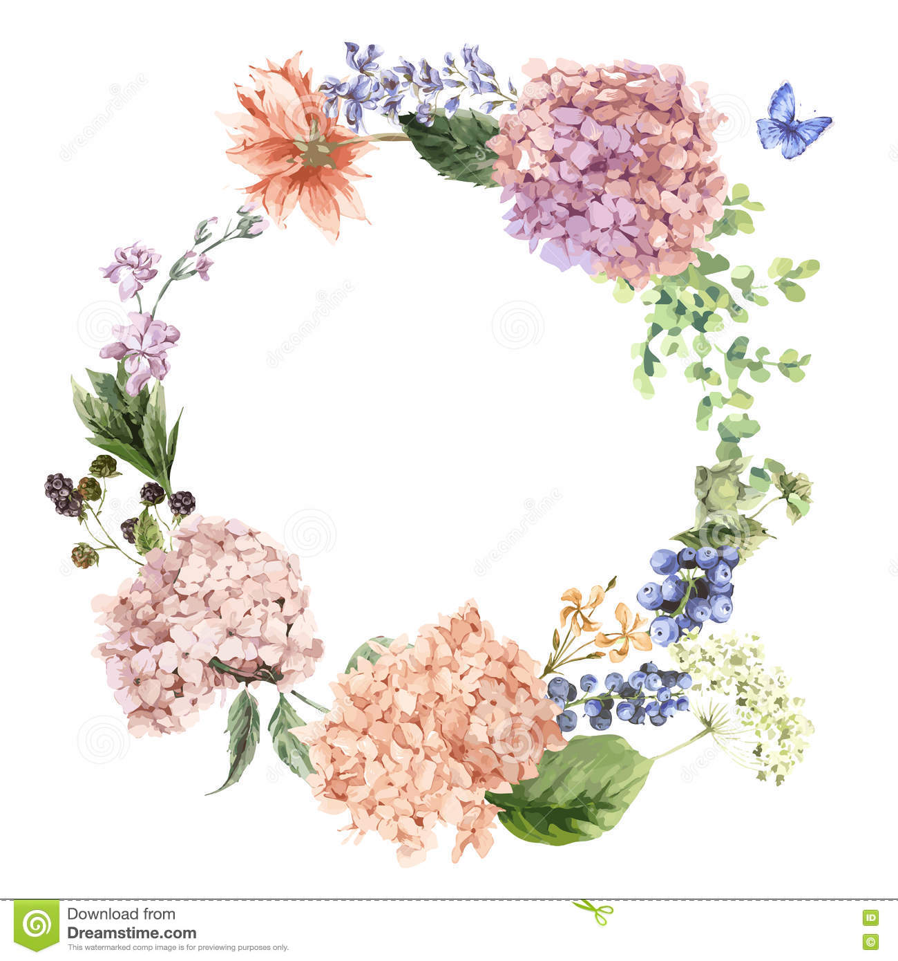 Floral Greeting Card With Blooming Hydrangea And Garden Flowers Stock Vector   Image  73697817
