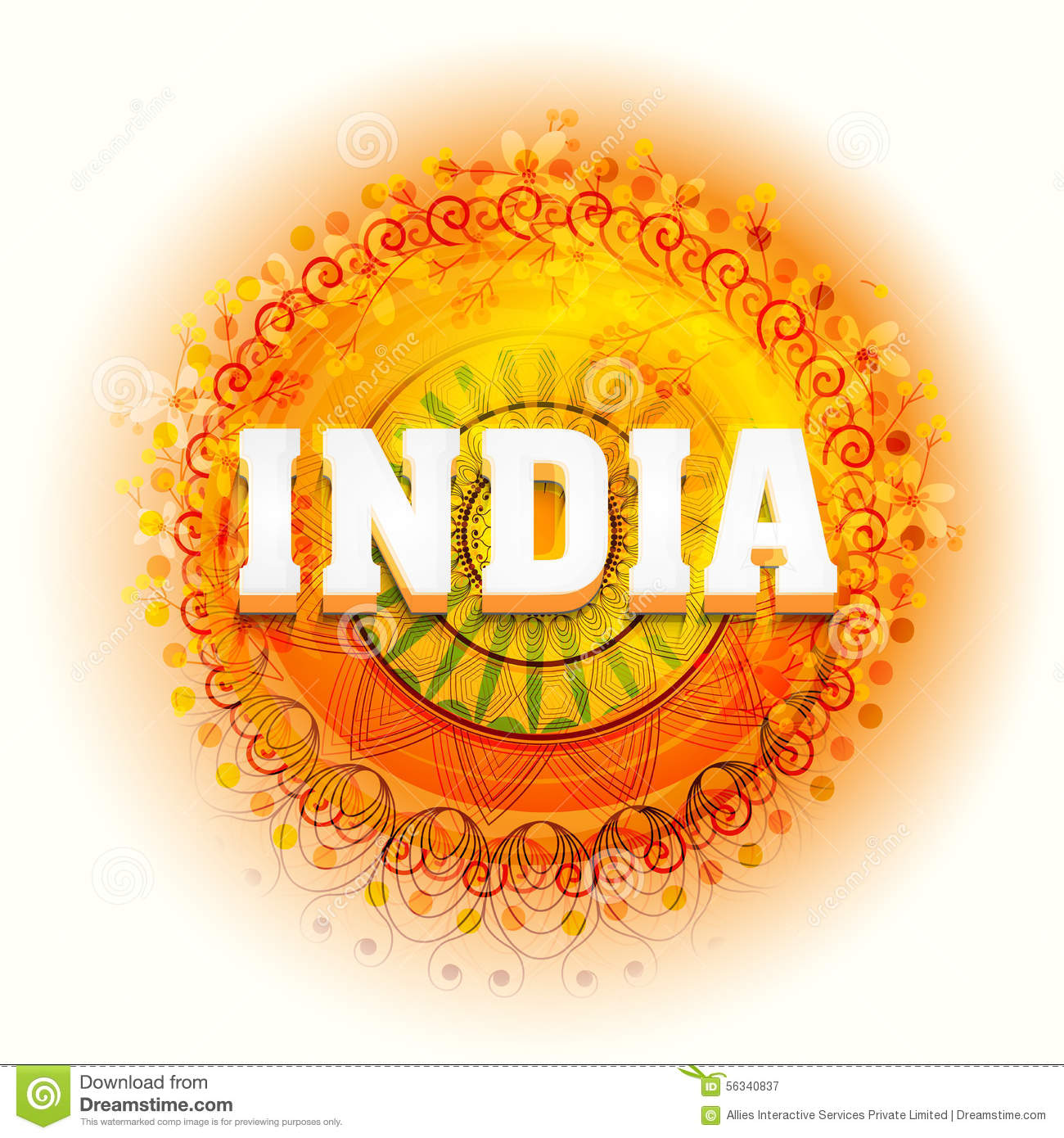 Floral Greeting Card For Indian Independence Day Stock Illustration