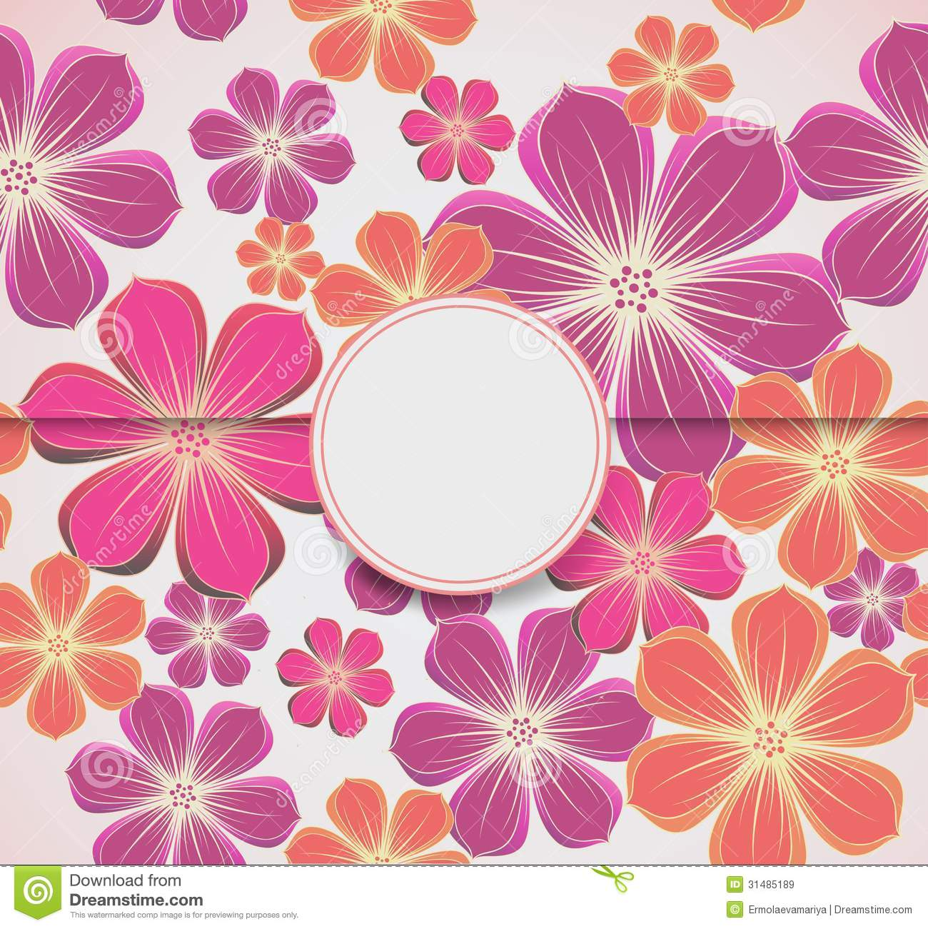 Template Greeting Card Royalty Free Stock Image: Floral Greeting Card, Invitation Template. Vector Royalty