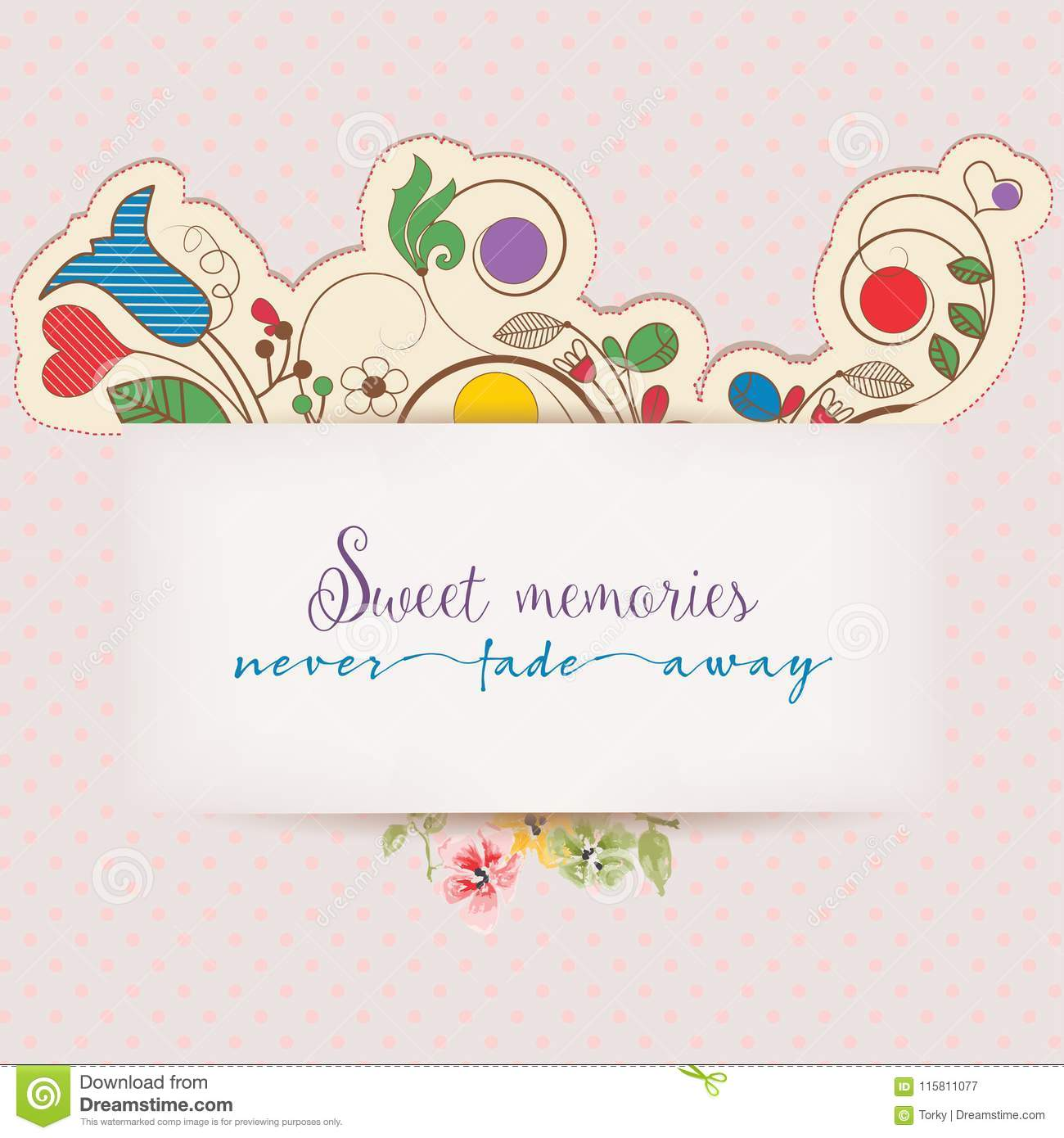 Floral Greeting Card With Text Message Stock Vector Illustration