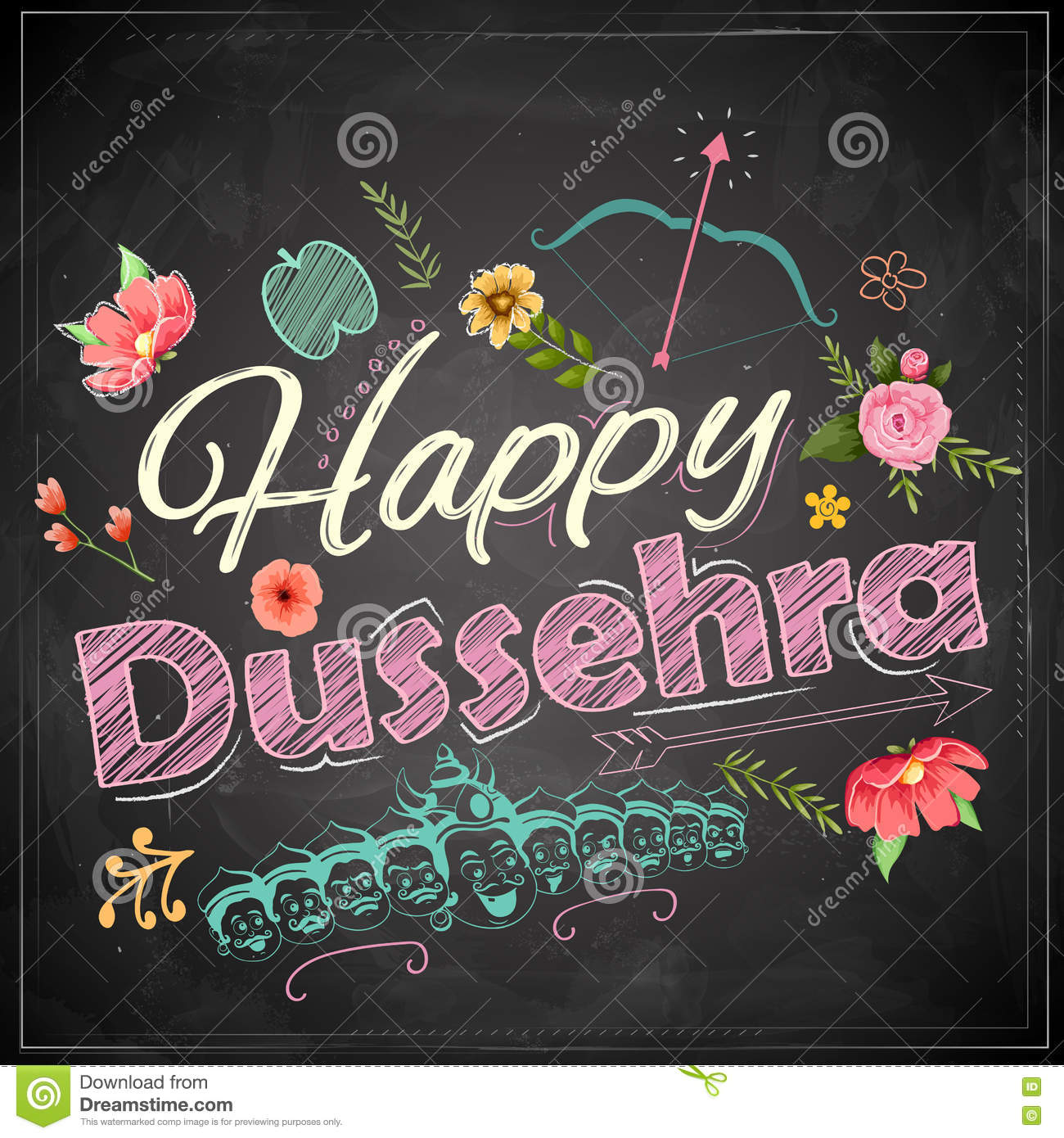 Floral greeting for happy dussehra navratri festival of india on floral greeting for happy dussehra navratri festival of india on chalkboard kristyandbryce Choice Image