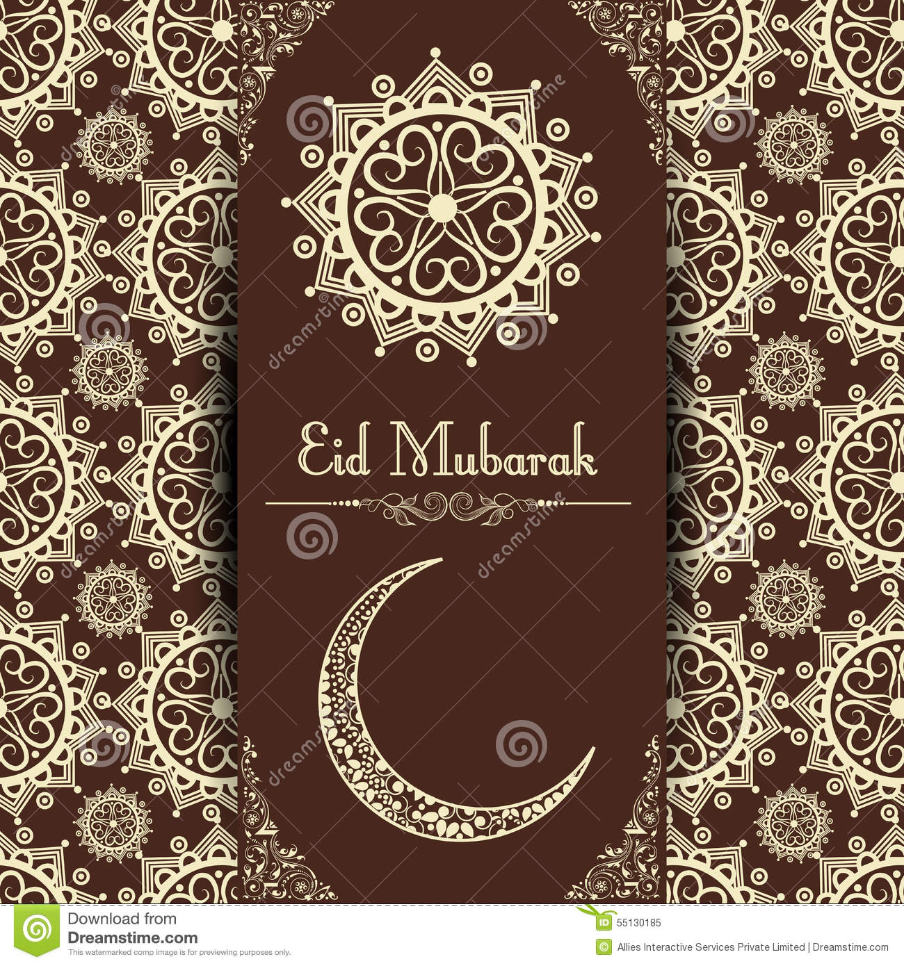Floral Greeting Or Invitation Card For Eid Mubarak Celebration