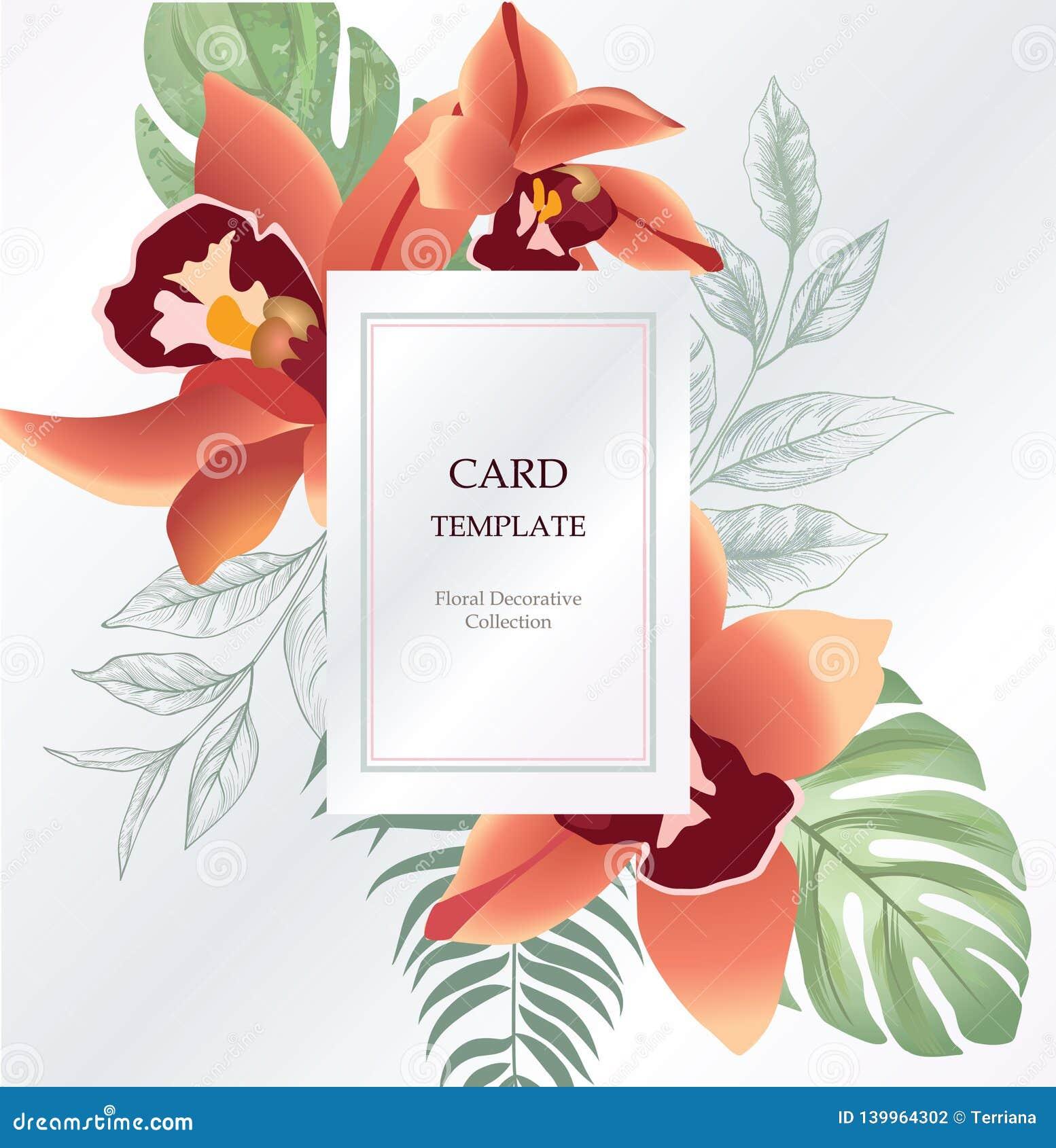 floral greeting invitation card template design flower