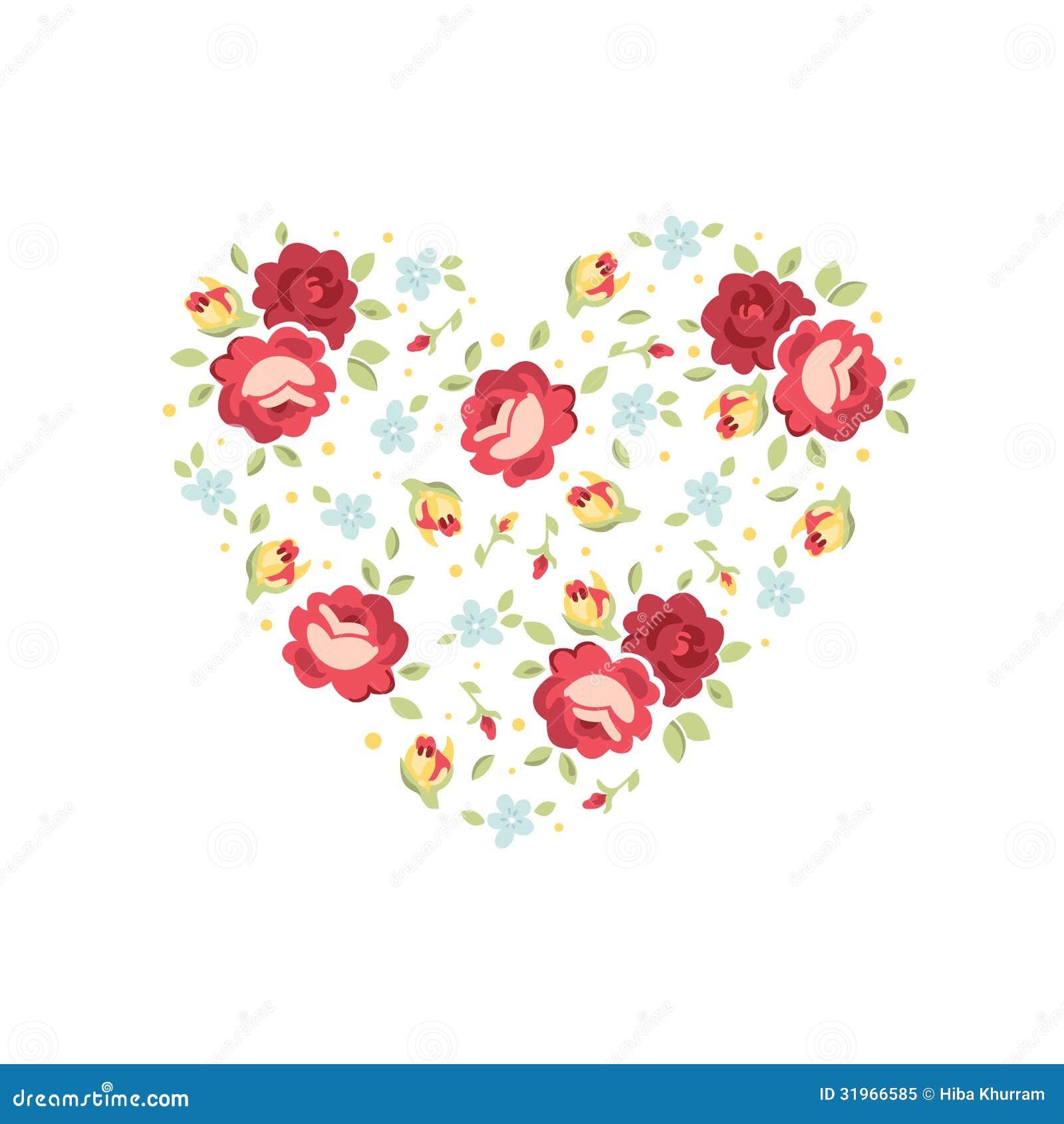 floral heart invitation card stock vector illustration of postcard
