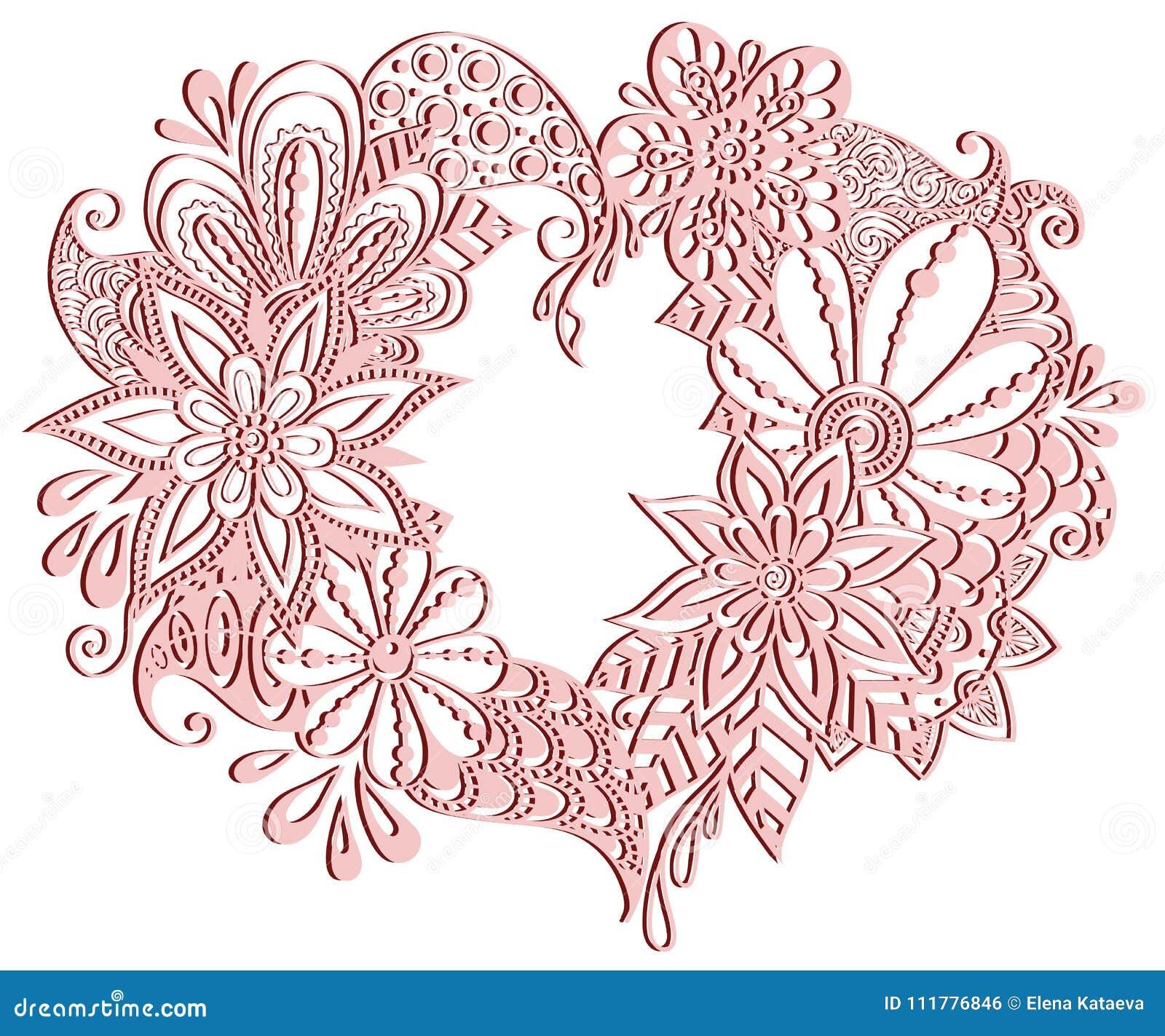 Floral heart. Monochrome pink vector romantic love illustration