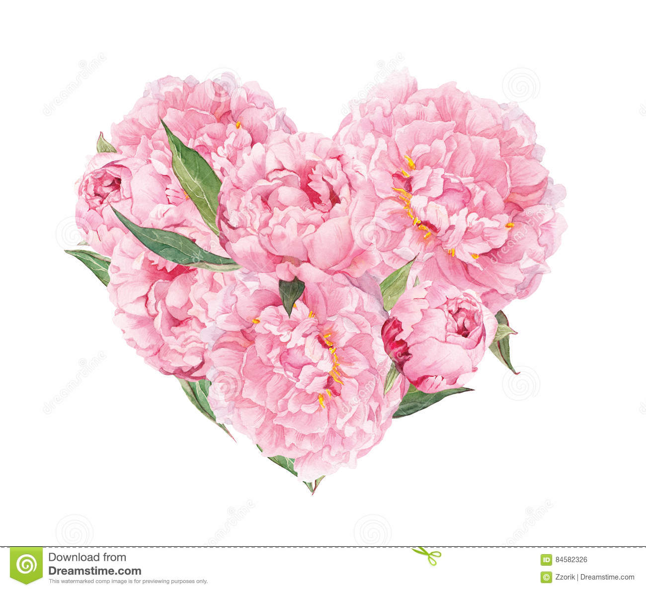 Floral Heart Pink Peonies Flowers Watercolor For Valentine Day
