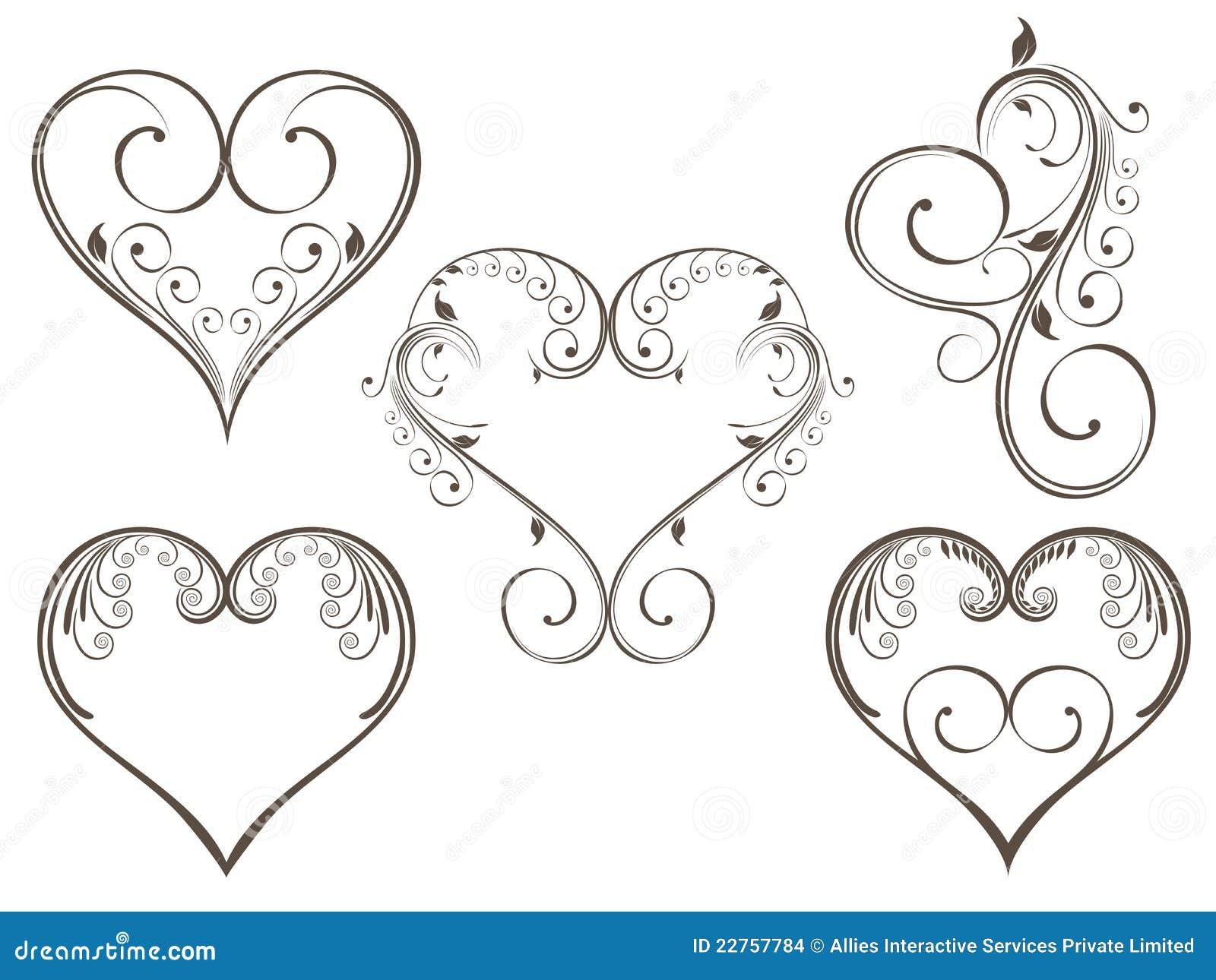 Heart Line Art Design : Floral heart scrolls stock vector illustration of