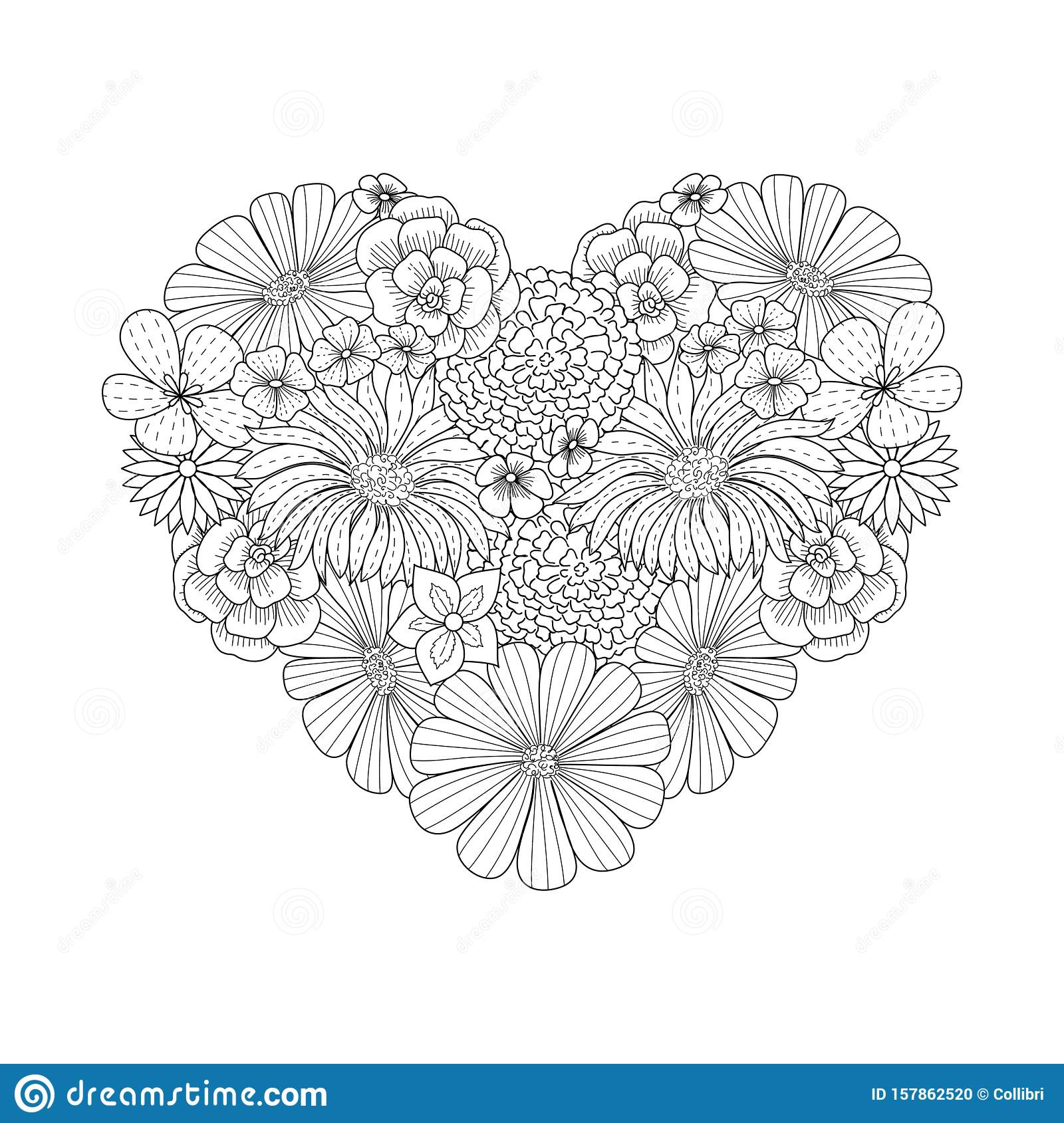Floral Heart Shape Doodle Style. Coloring Book Page ...