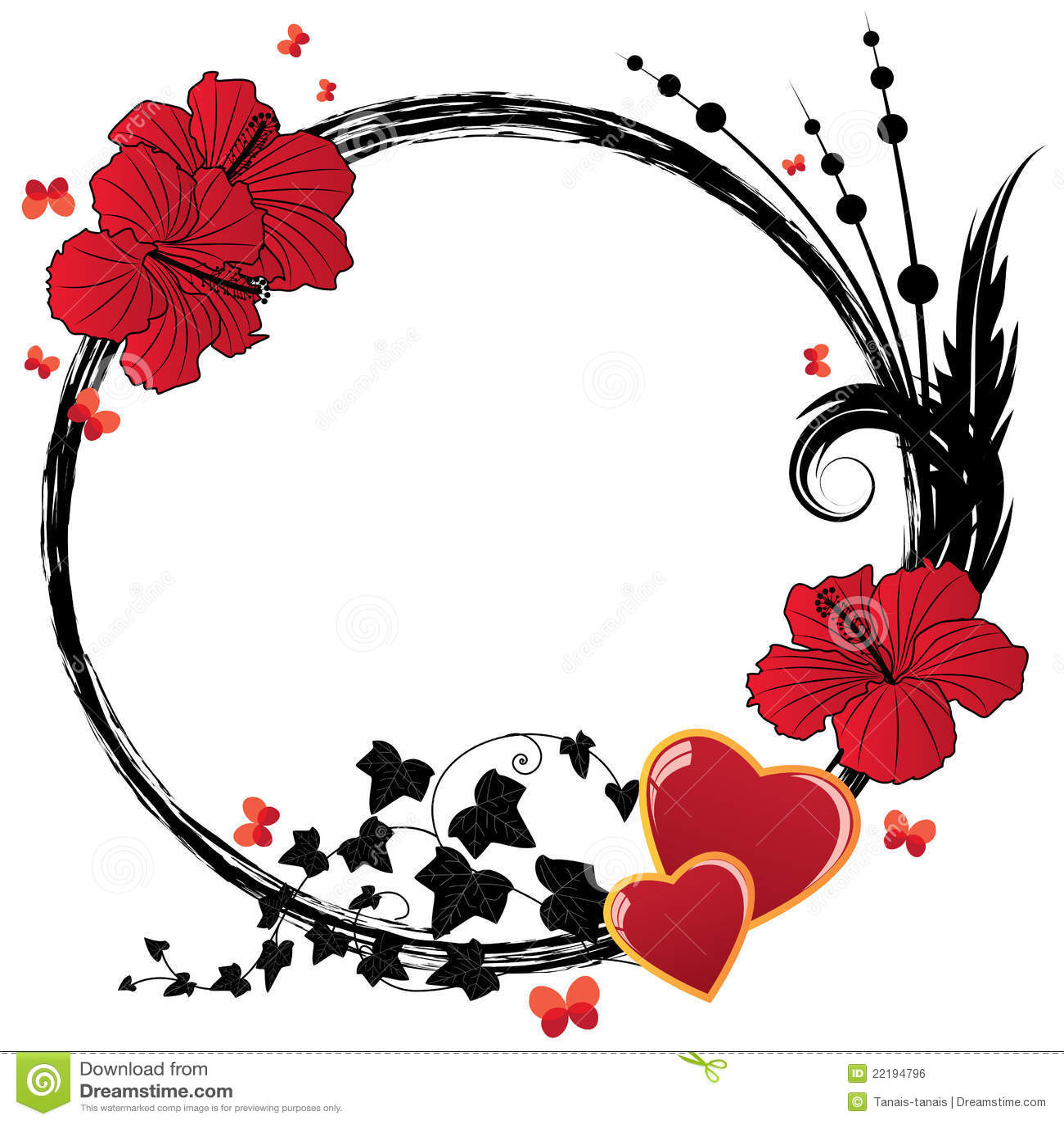 Floral hibiscus καρδιών πλαισίων