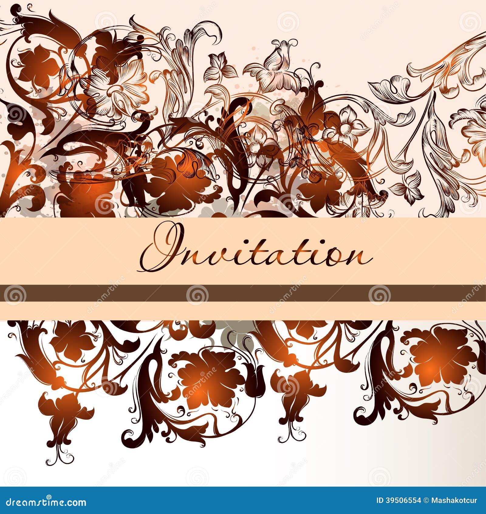 Floral invitation card in elegant style