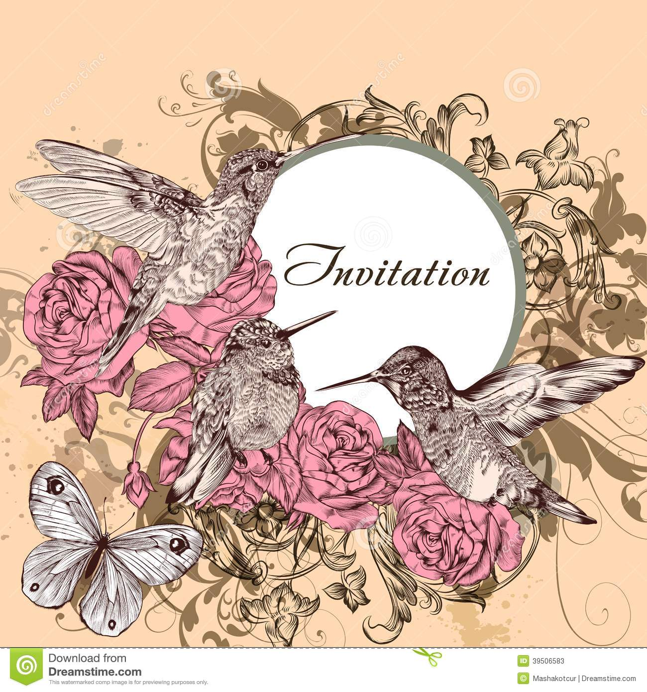 Floral invitation card with humming birds