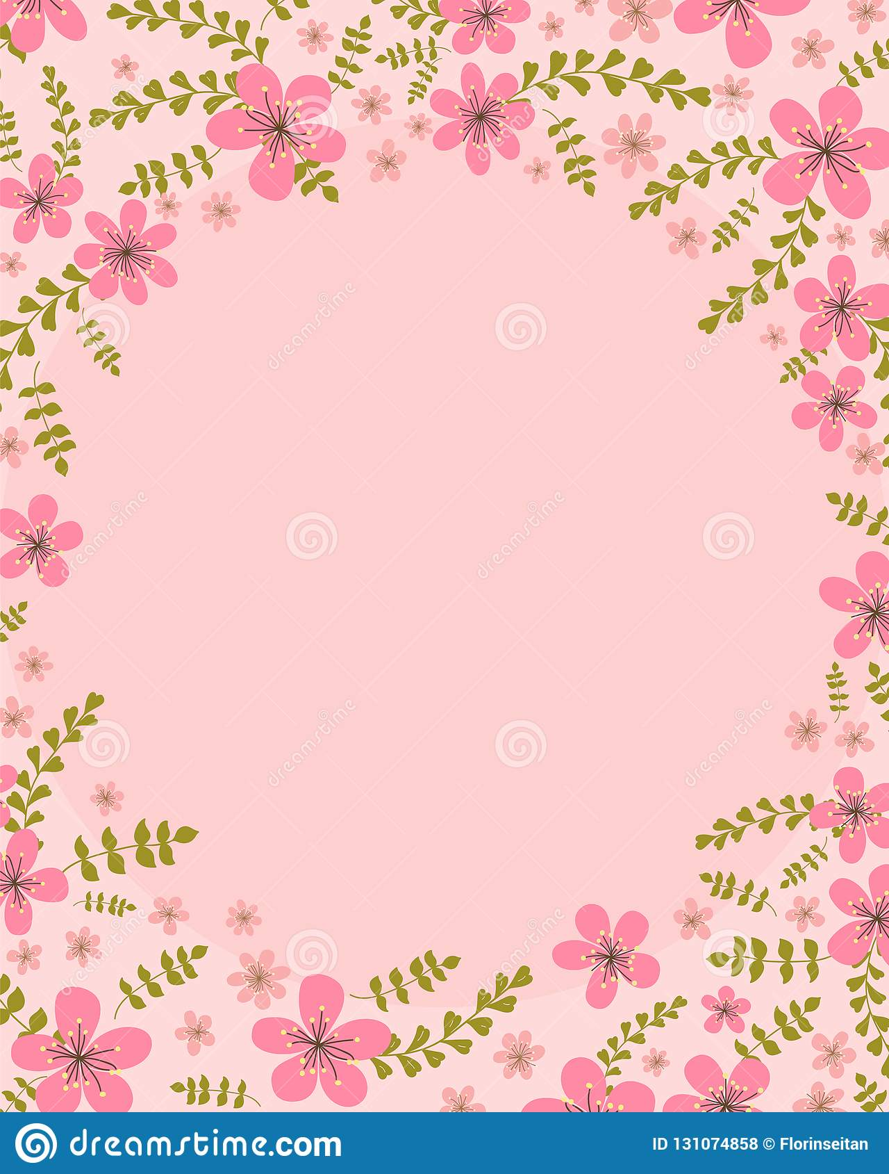 Floral Invitation Card Template Design Cherry Blossom Flowers With