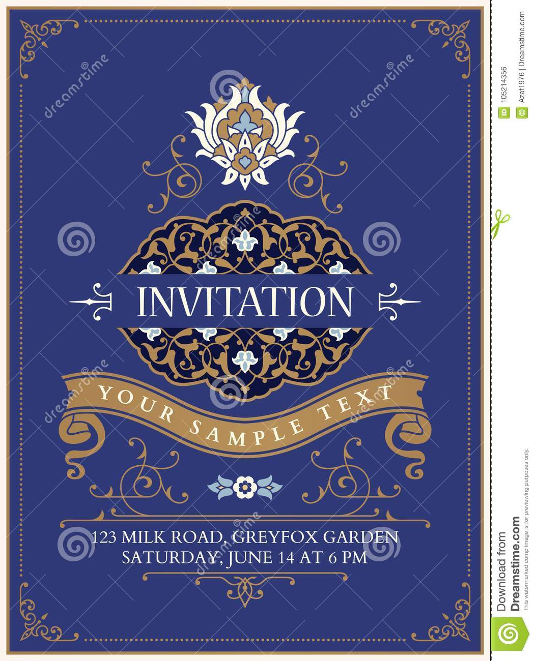 Floral Invitation Template Stock Vector Illustration Of Menu