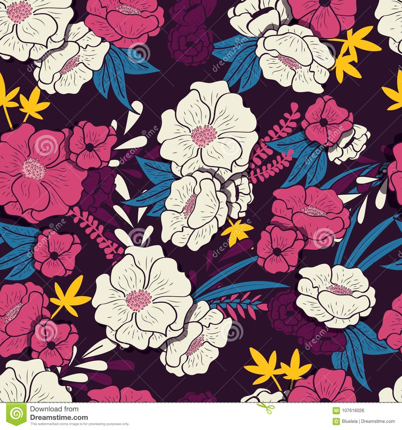 Floral jungle with snakes seamless pattern, tropical flowers and leaves, botanical hand drawn vibrant