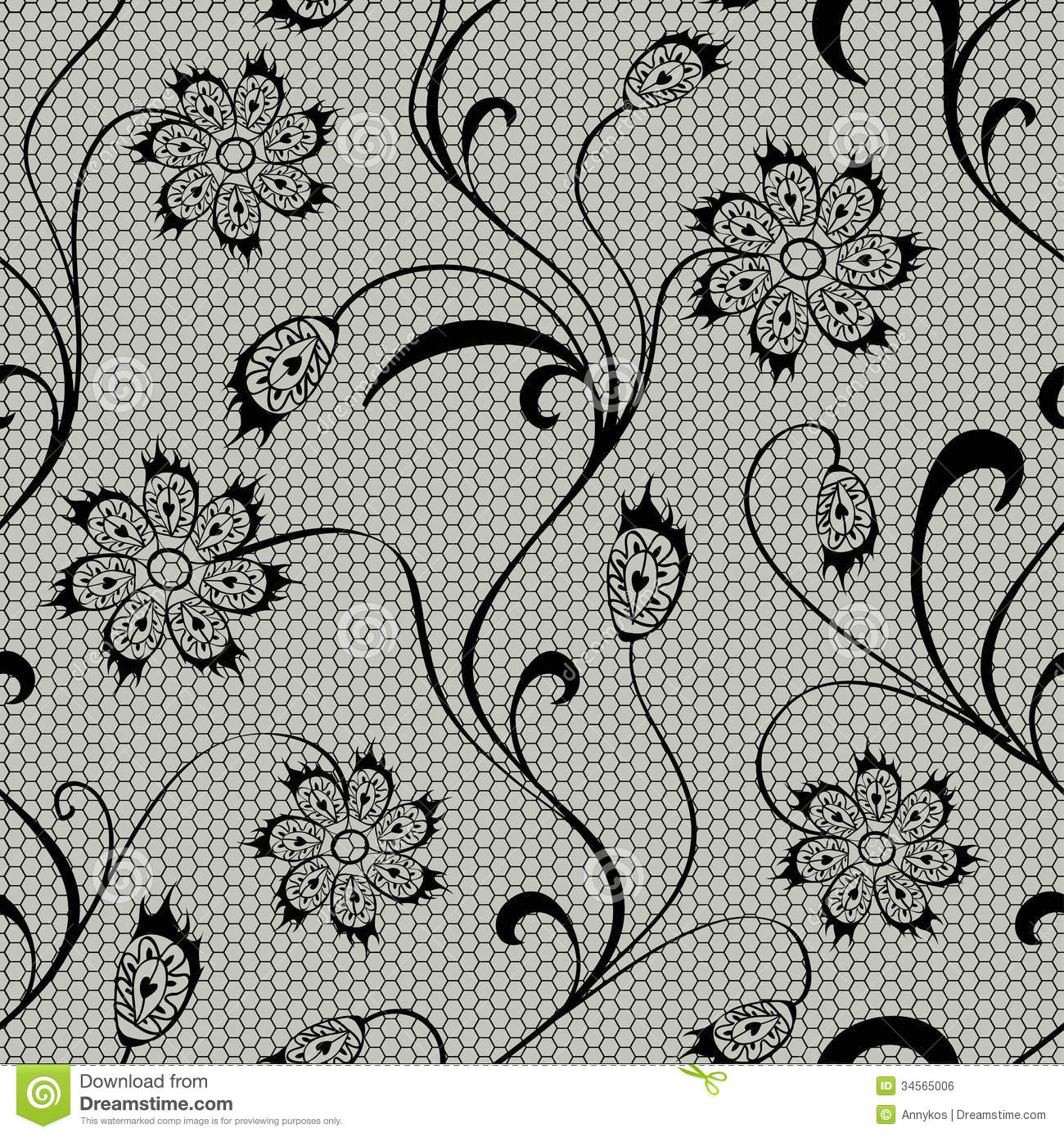 Black Flower And Bud Pattern Royalty Free Stock Photos: Floral Lace Seamless Pattern Stock Vector