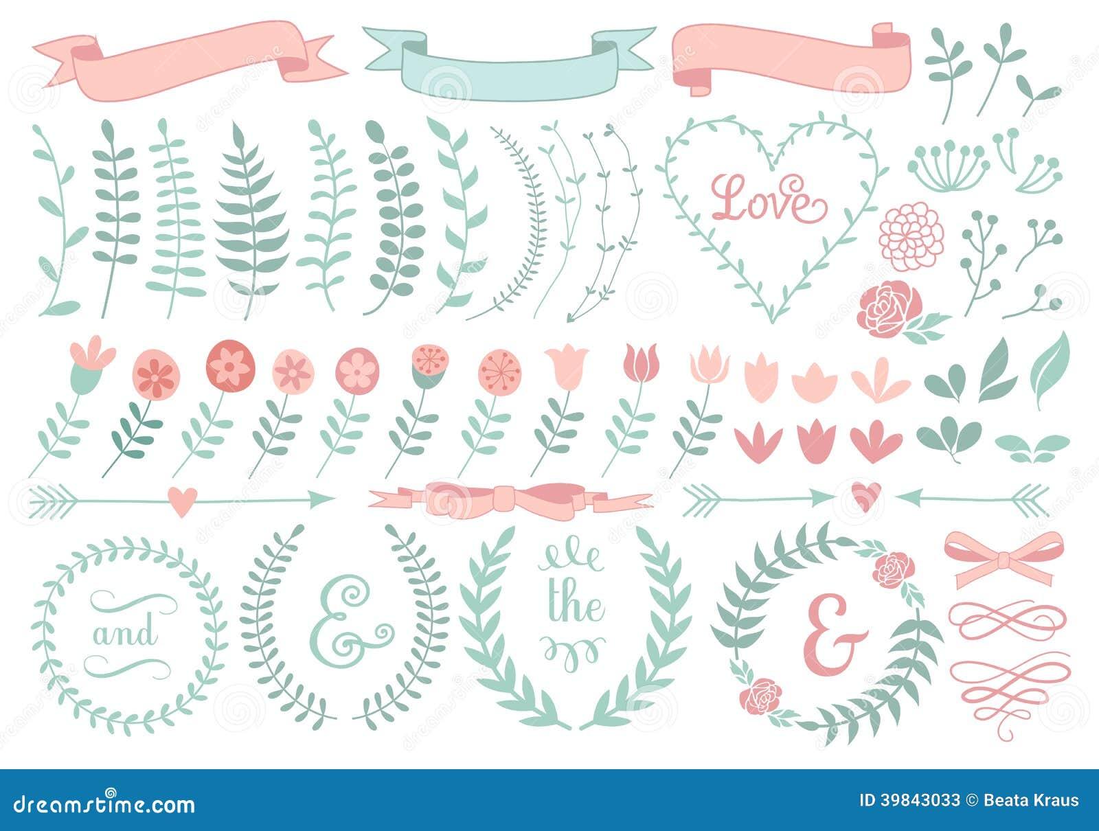 Floral laurel wreath set stock illustration image 39843033