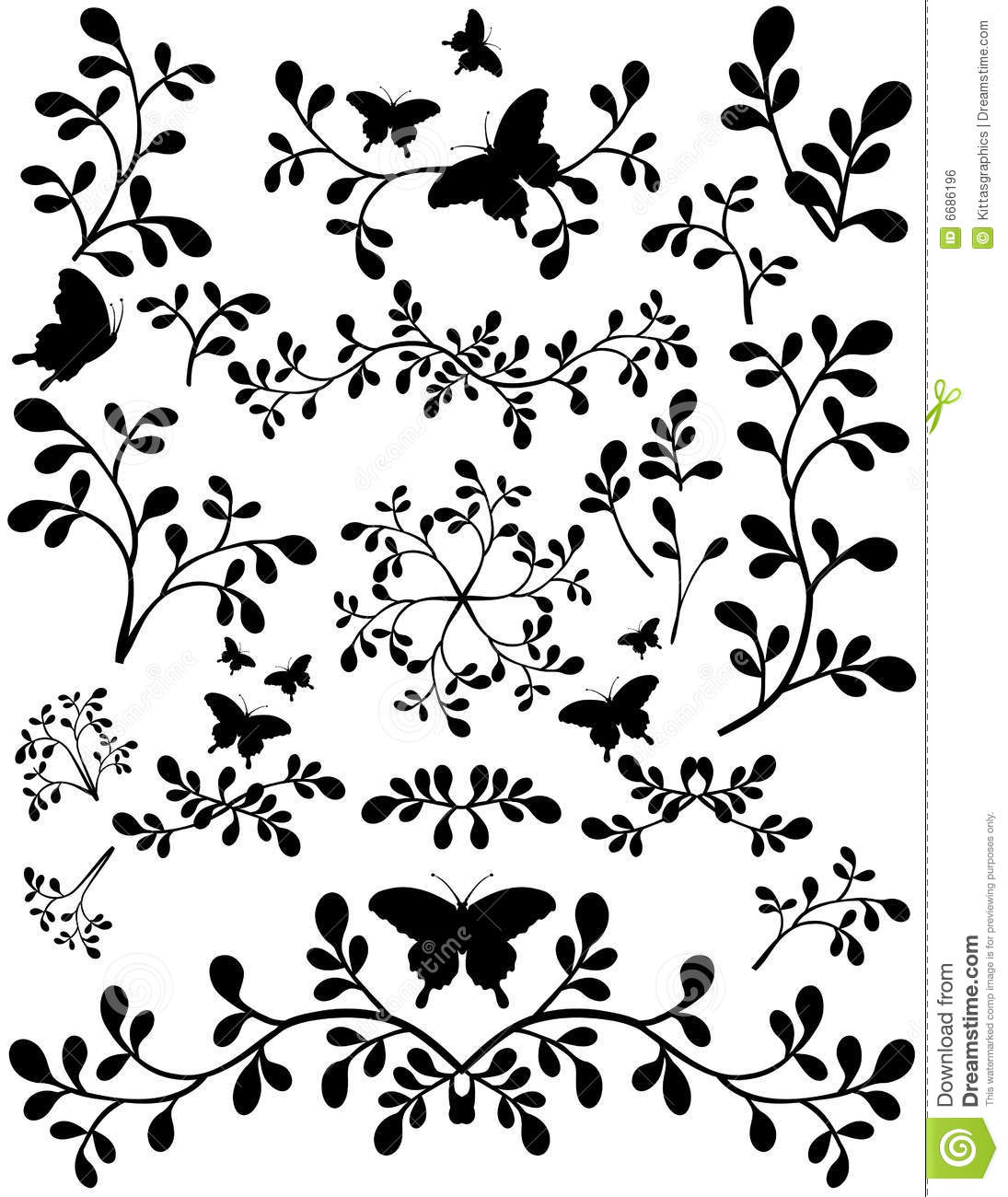 Set Of Black Flower Design Elements Royalty Free Stock: Floral Leaf Elements Abstract Silhouette Stock Vector