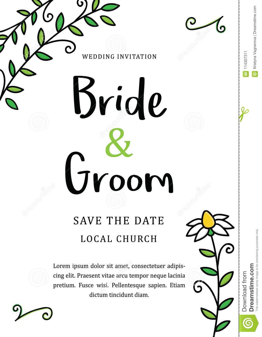 hand drawn floral leafy wedding invitation vector graphic printable card in cmyk wedding template with chamomile flower doodles - Printable Invitation Card Stock