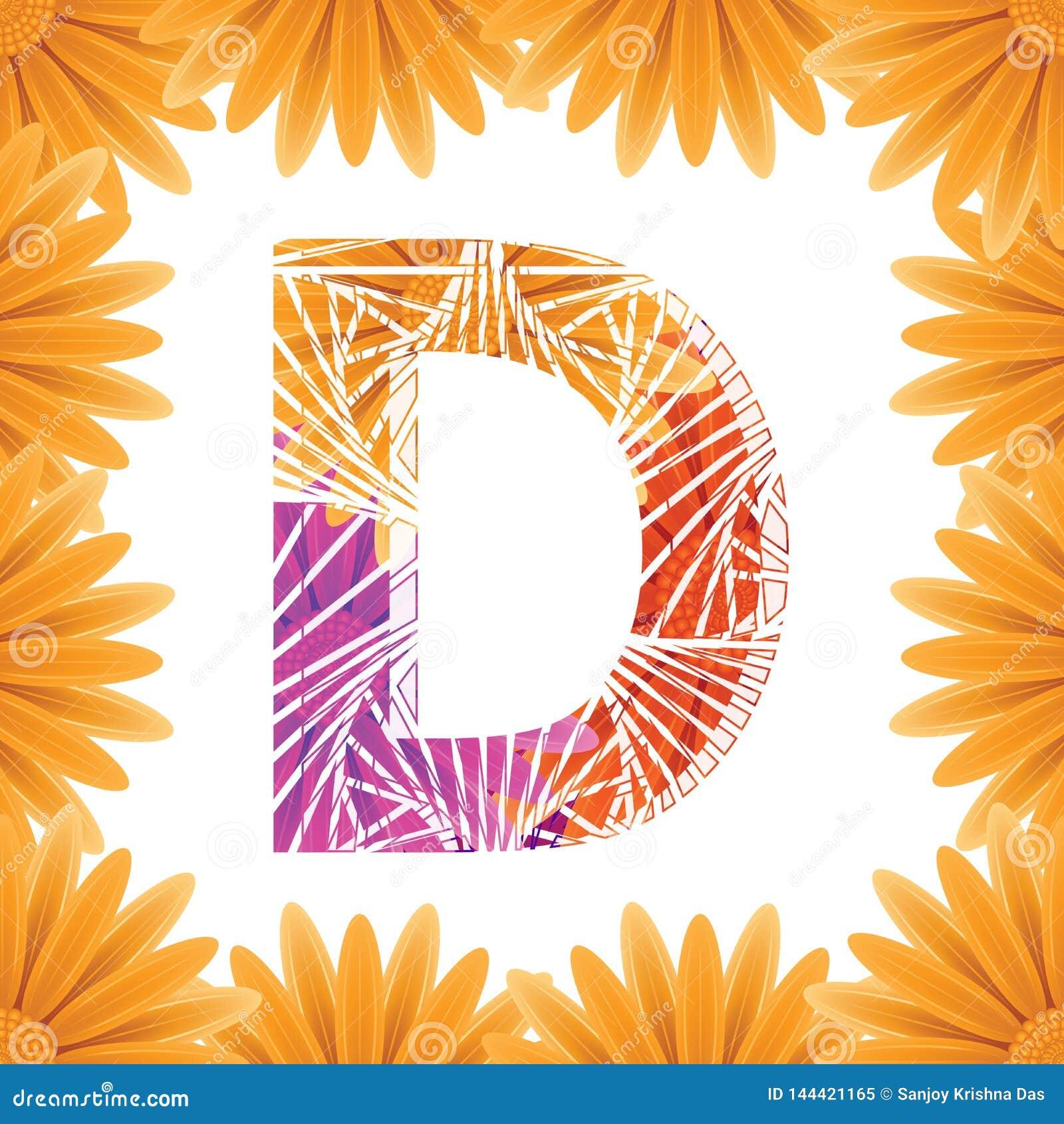 Floral Letter D design template. Mother's Das flower logo type design concept of Abstract alphabet logo