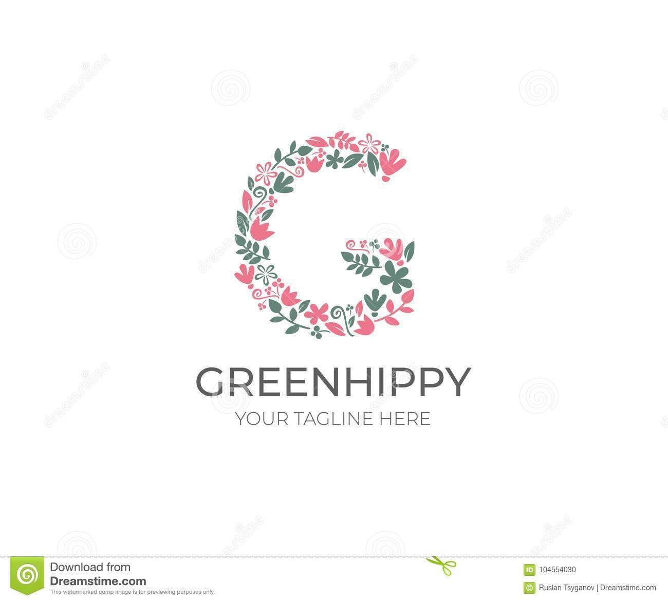 Floral Letter G Logo Template Nature Vector Design Stock Vector
