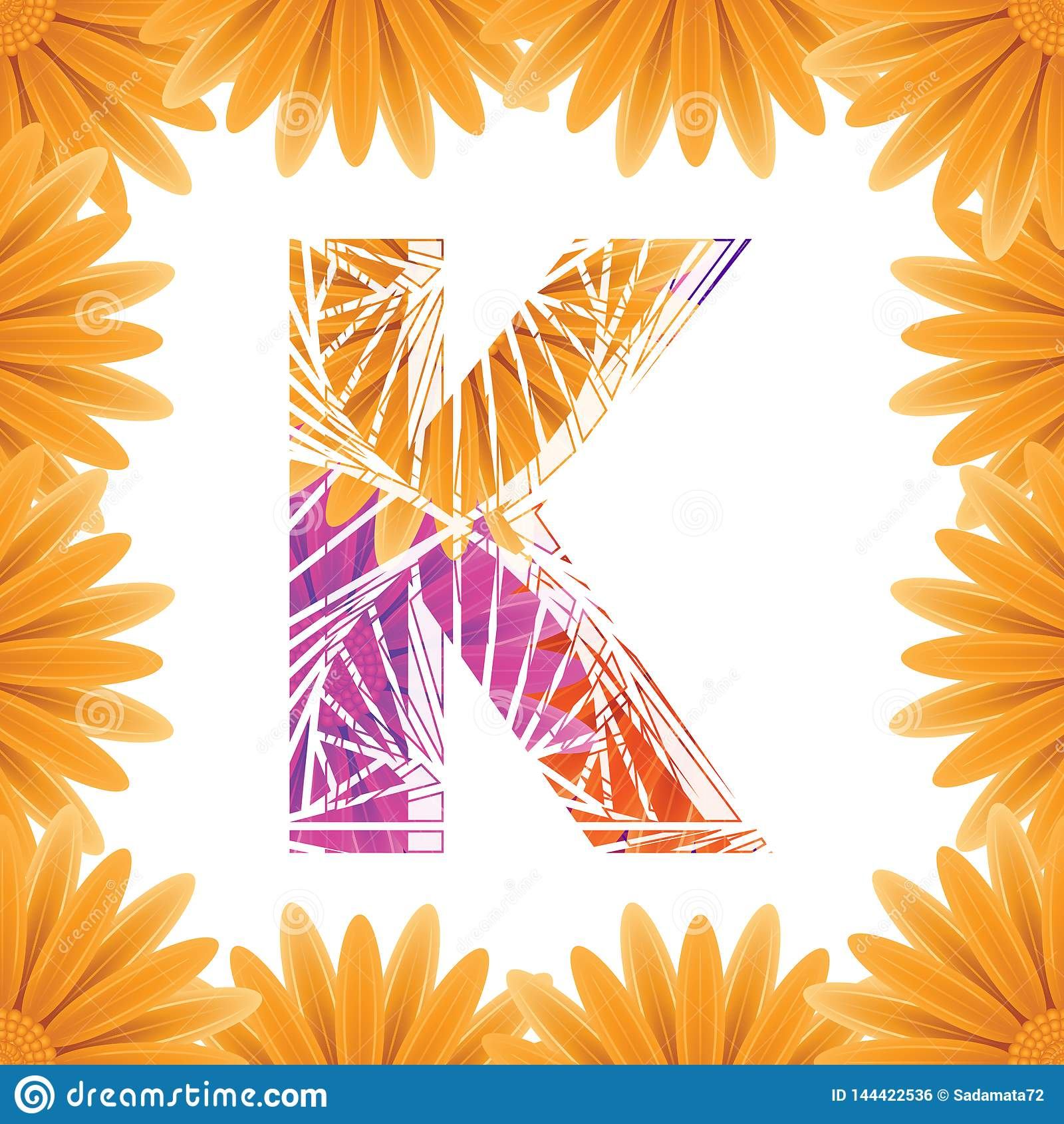 Floral Letter K design template. Mother's Das flower logo type design concept of Abstract alphabet logo
