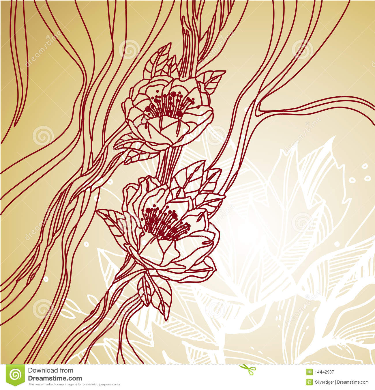 Line Art Flower Background : Floral line art background royalty free stock photography