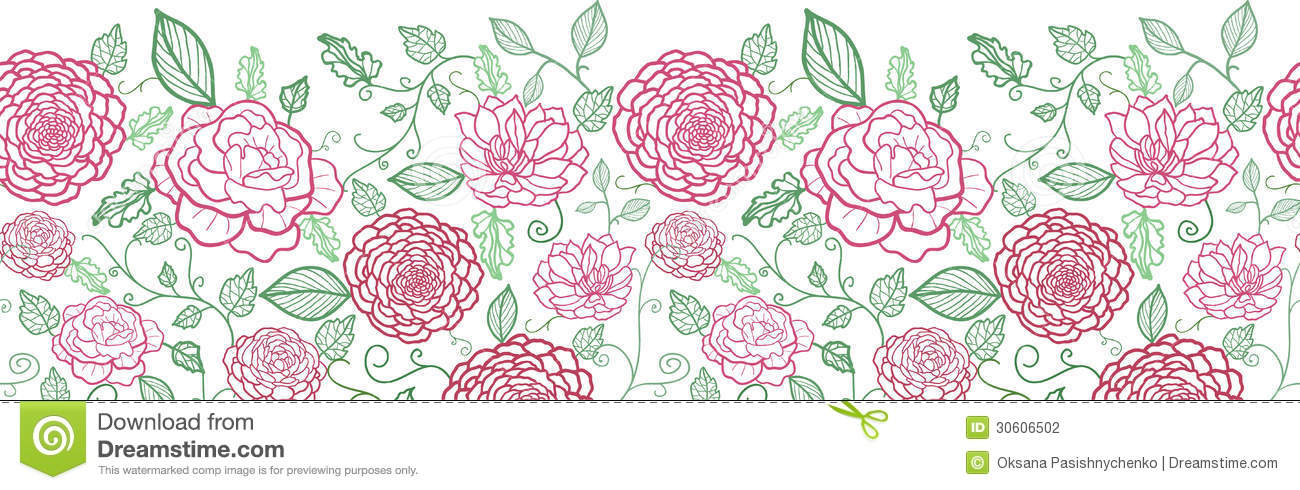 Line Art Flowers Vector : Floral line art horizontal seamless pattern stock