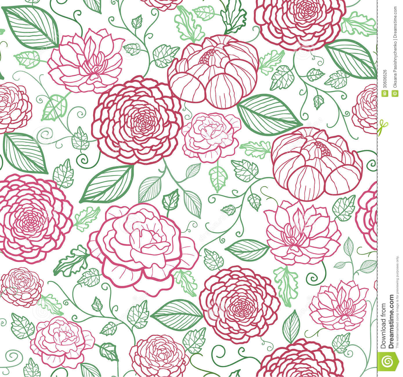 Line Art Flowers Vector : Floral line art seamless pattern background stock vector
