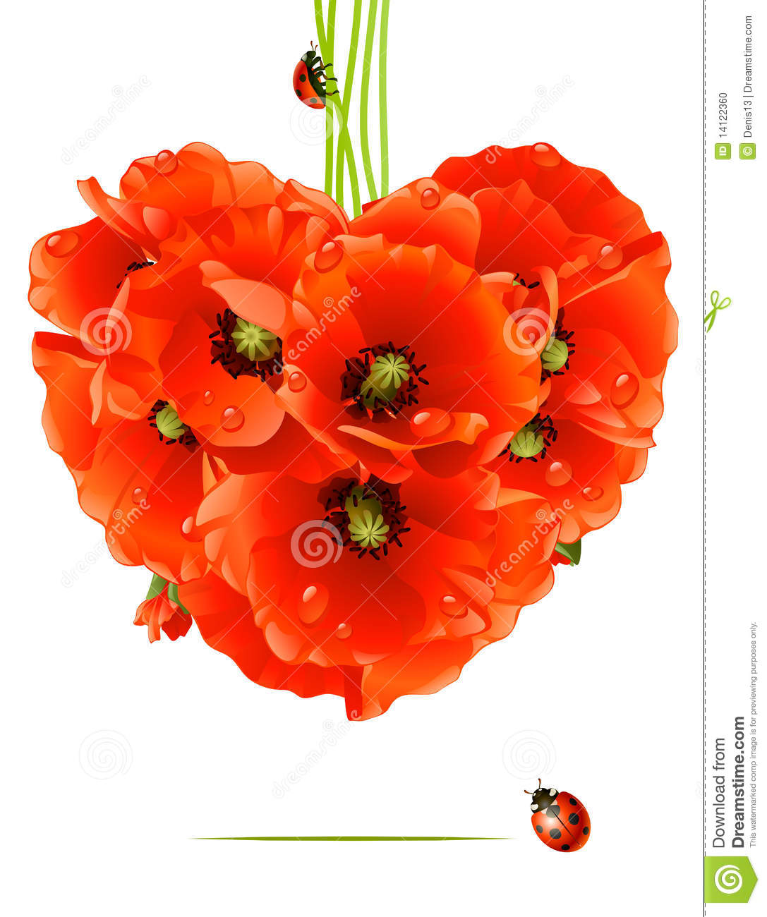 Floral Love Card Poppy Heart Stock Vector Illustration Of Gift