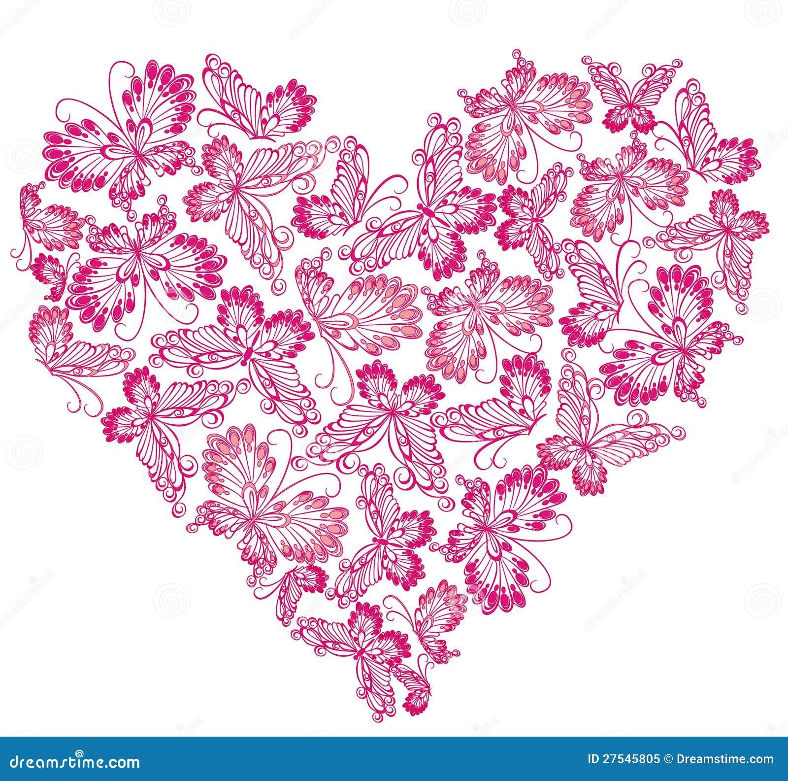Floral Love Shape Heart Of Butterflies Stock Vector