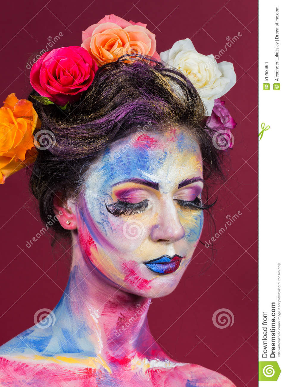 Floral Makeup Stock Photo Image 51268664