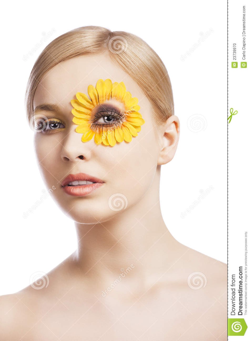 The Floral Makeup, She Looks In To The Lens Stock Photo