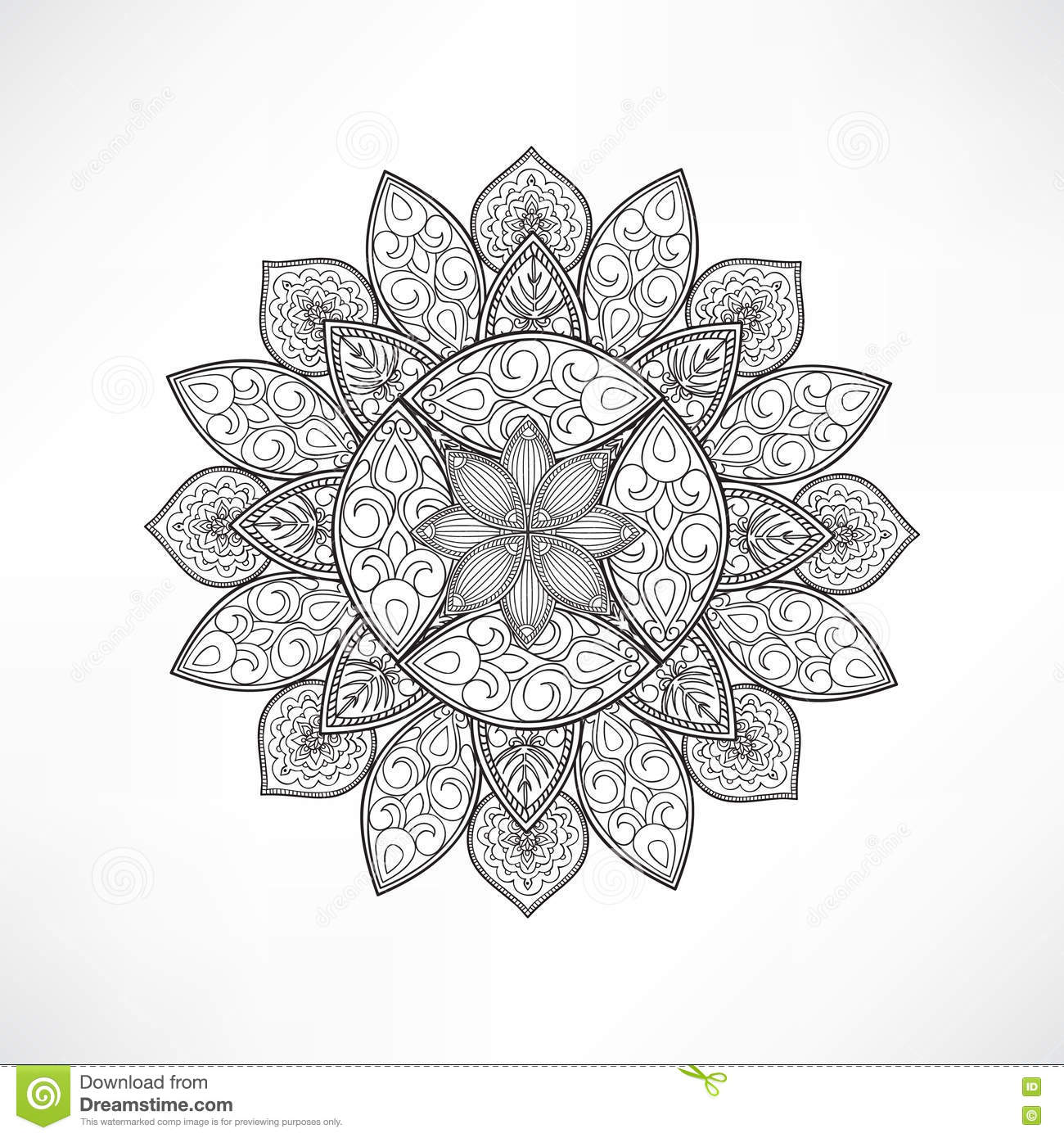 Floral Mandala Decor Geometric Flower Isolated Outline