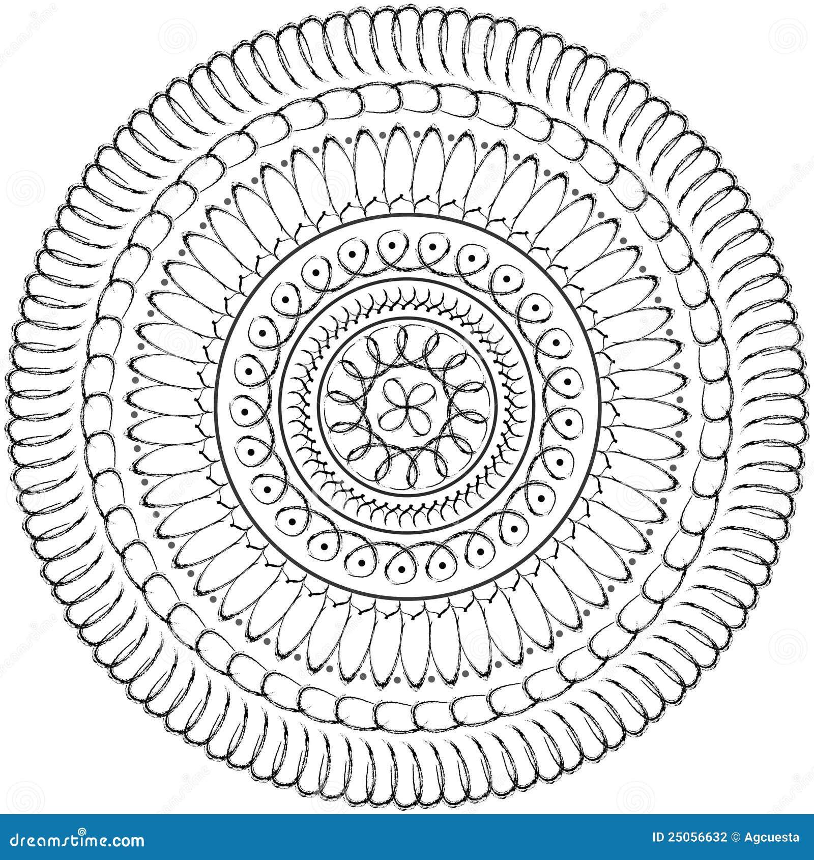 floral mandala geometric drawing sacred circle stock