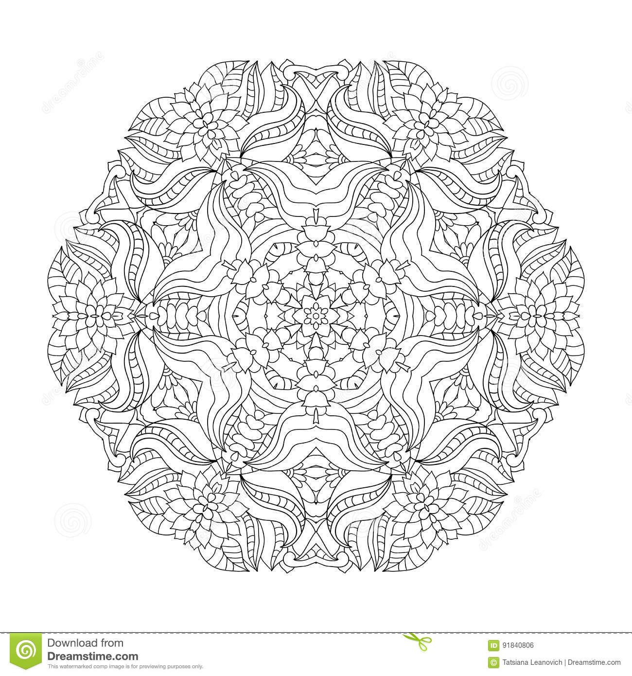 Floral Mandala. Pattern For Coloring Book In Vector. Stock ...