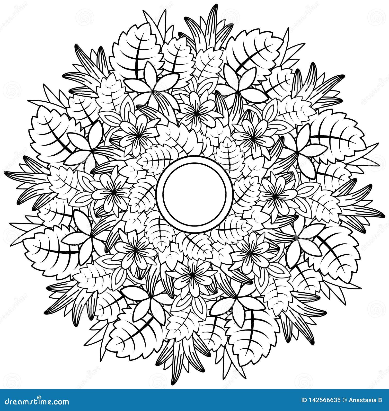 Floral mandala Διανυσματική απεικόνιση zentangl Σχέδιο Doodle Στοχαστικές ασκήσεις Αντι πίεση βιβλίων χρωματισμού