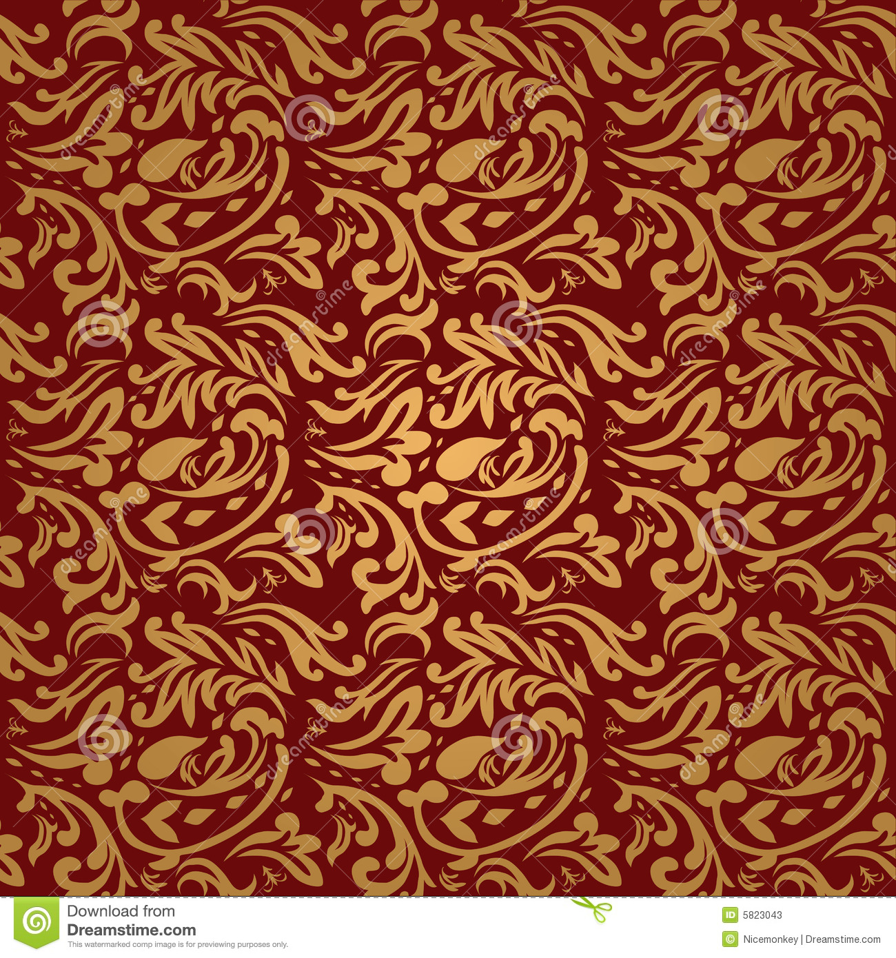 Floral Maroon Stock Vector. Image Of Scroll, Damask