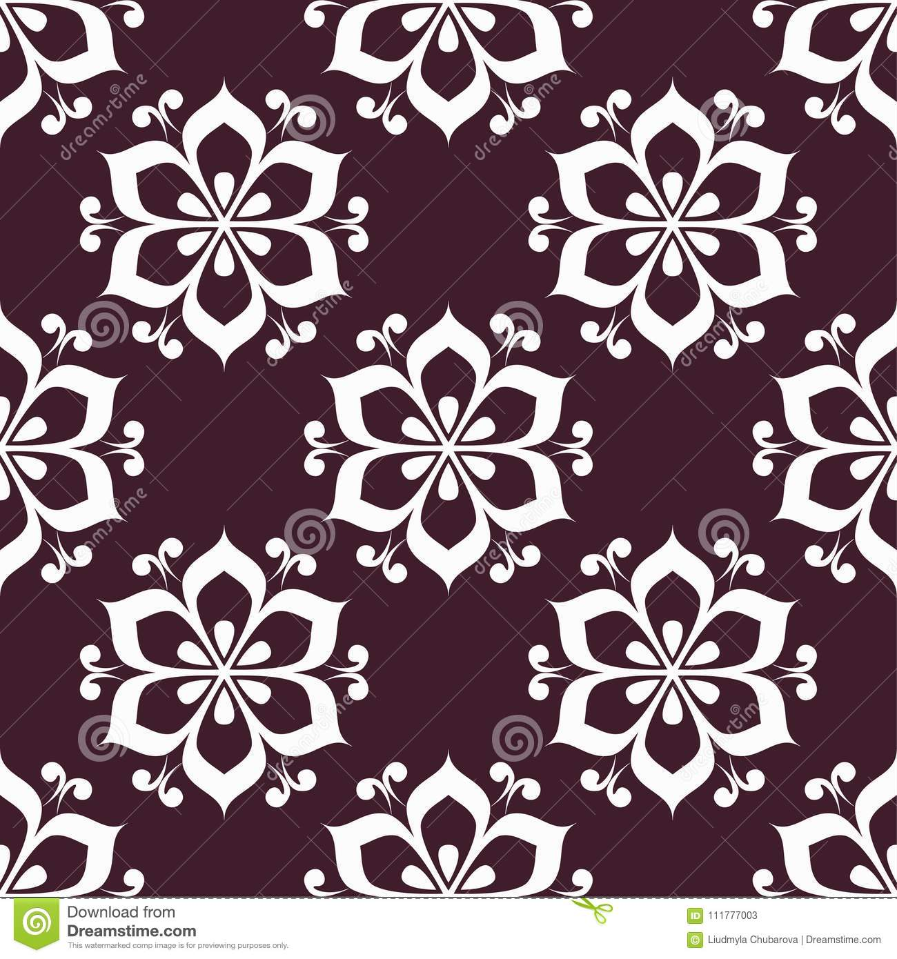 Floral maroon seamless pattern. Background with fower elements for wallpapers