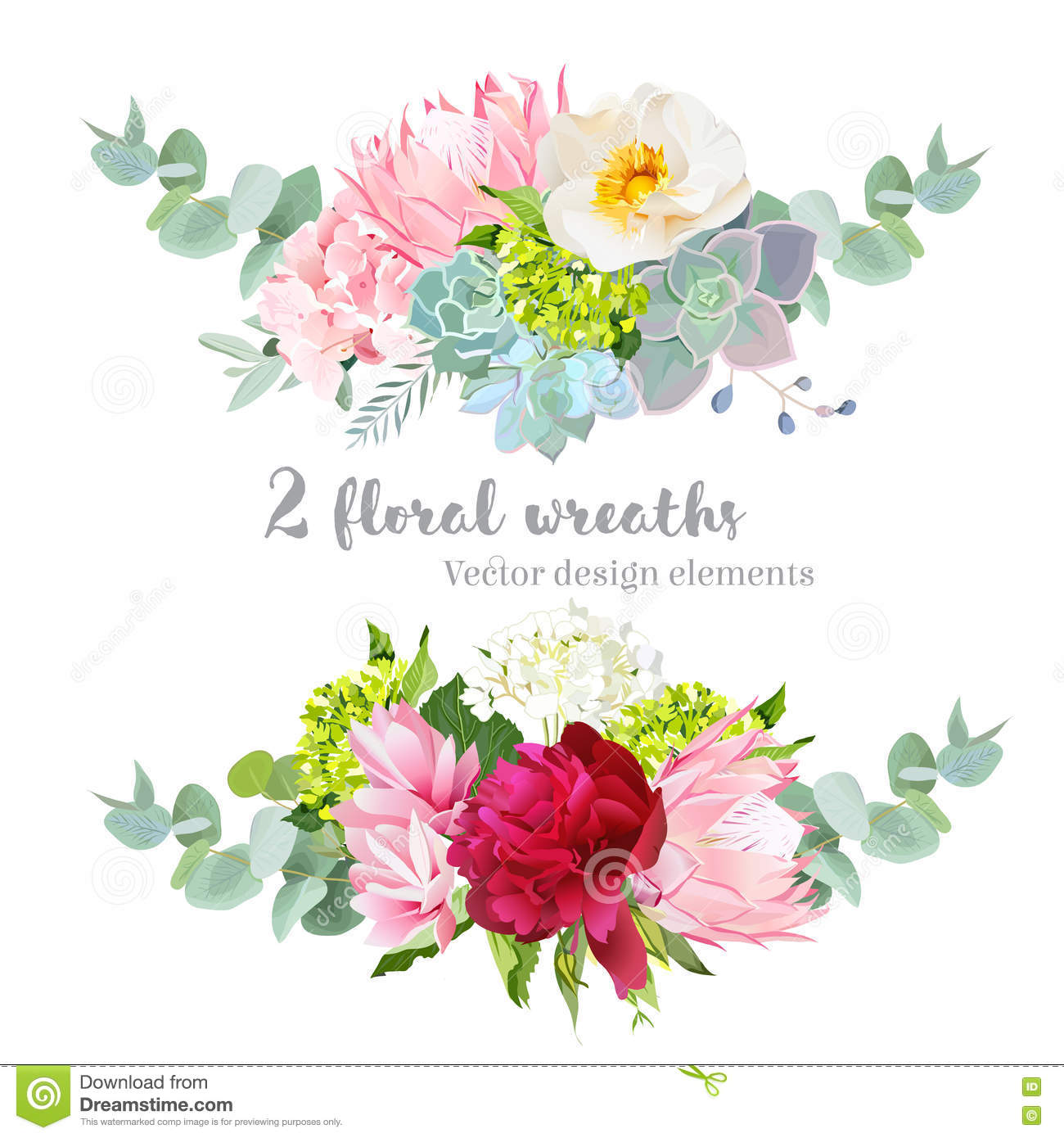 Floral Mix Wreath Vector Design Set Green White And Pink