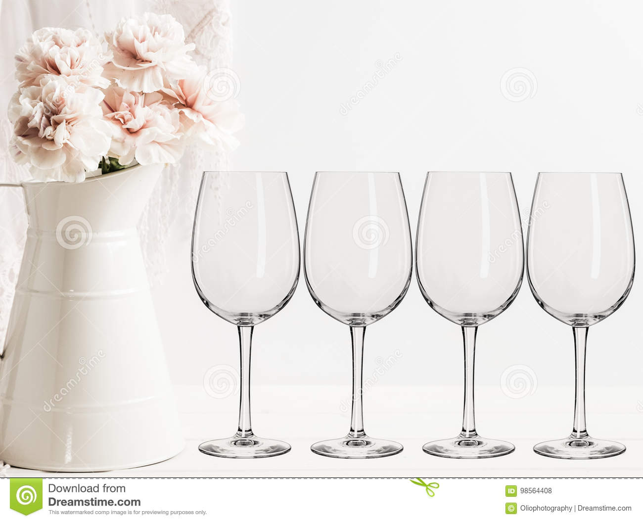 Floral Mockup Empty Wine Glasses Stock Photo Image - Wine glass custom vinyl stickers