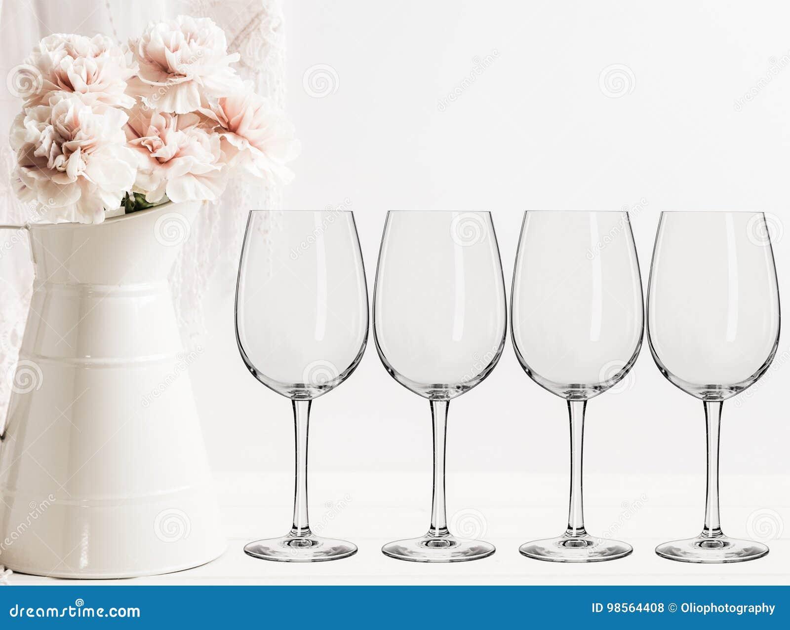 Floral Mockup Empty Wine Glasses Stock Photo Image - Wine glass custom vinyl stickers