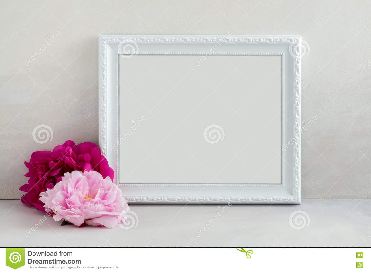 Floral Mockup Styled Stock Photography With White Frame Stock Photo ...