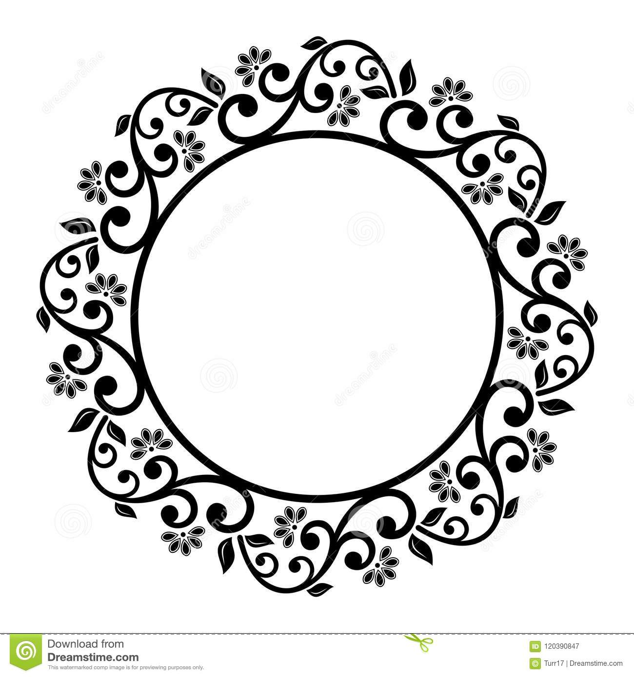Floral Modern Vector Round Frame Stock Vector - Illustration of asia ...