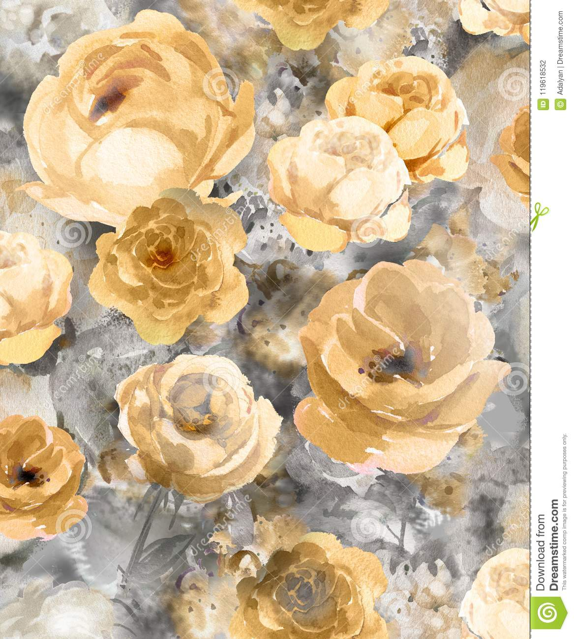 Monochrome Watercolor Gold Decorative Flowers On A Dark Background A Large Pattern For Wallpaper Stock Illustration Illustration Of Garden Dark 119618532