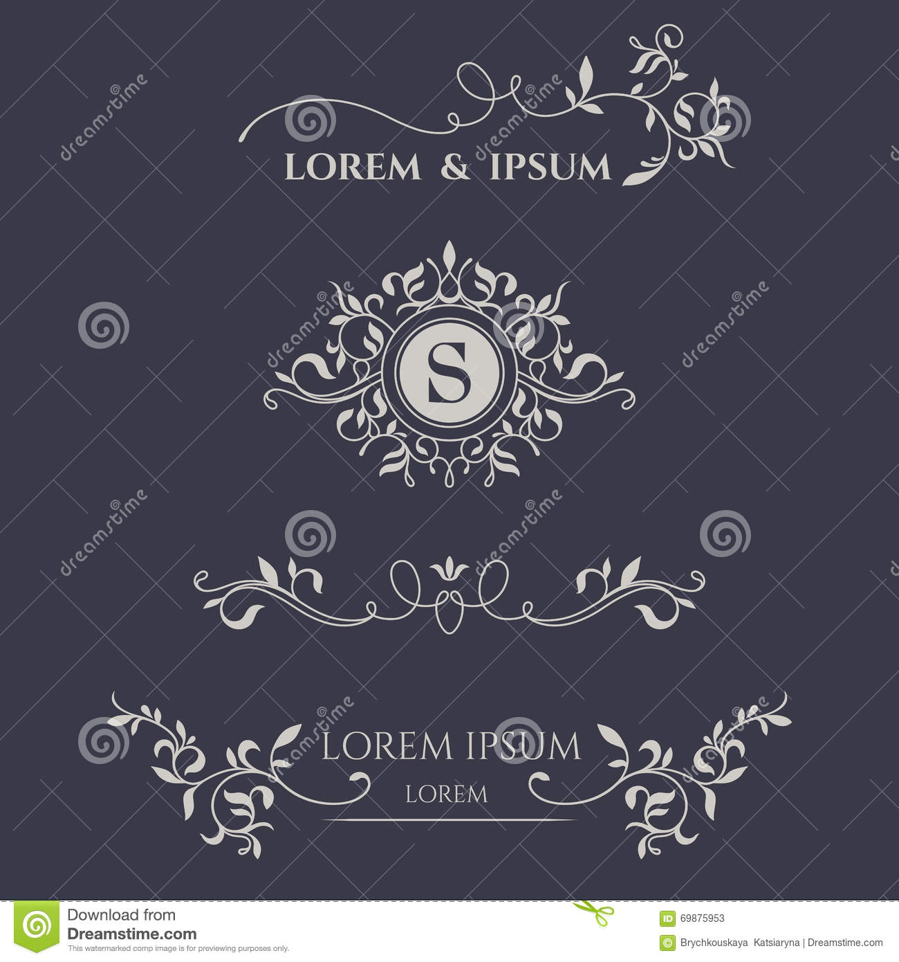 floral monogram and borders  stock vector