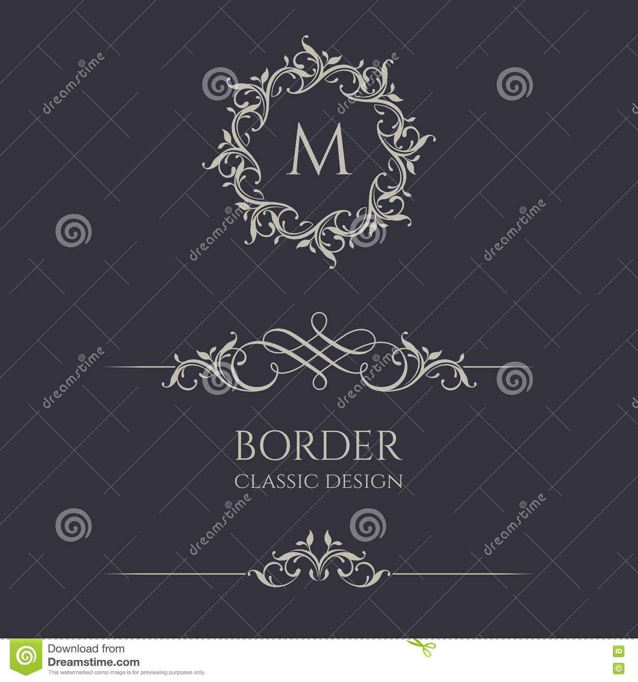 Floral monograms and borders stock vector image 73172776 for Classic border design